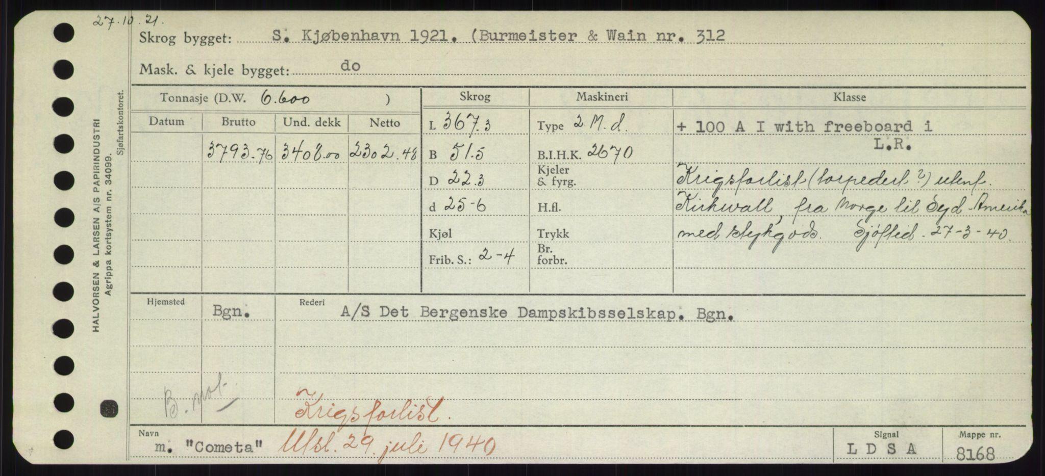 RA, Sjøfartsdirektoratet med forløpere, Skipsmålingen, H/Hd/L0008: Fartøy, C-D, s. 131