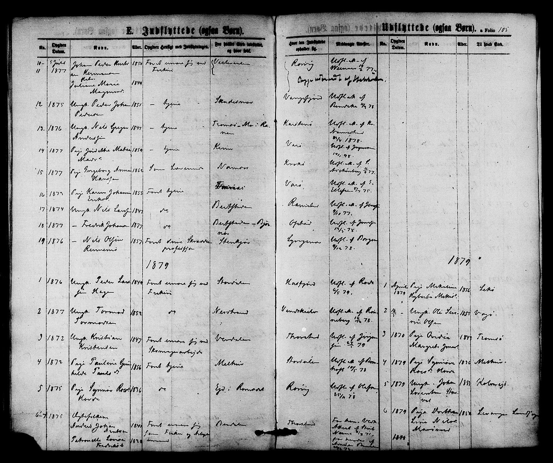 SAT, Ministerialprotokoller, klokkerbøker og fødselsregistre - Nord-Trøndelag, 784/L0671: Ministerialbok nr. 784A06, 1876-1879, s. 105