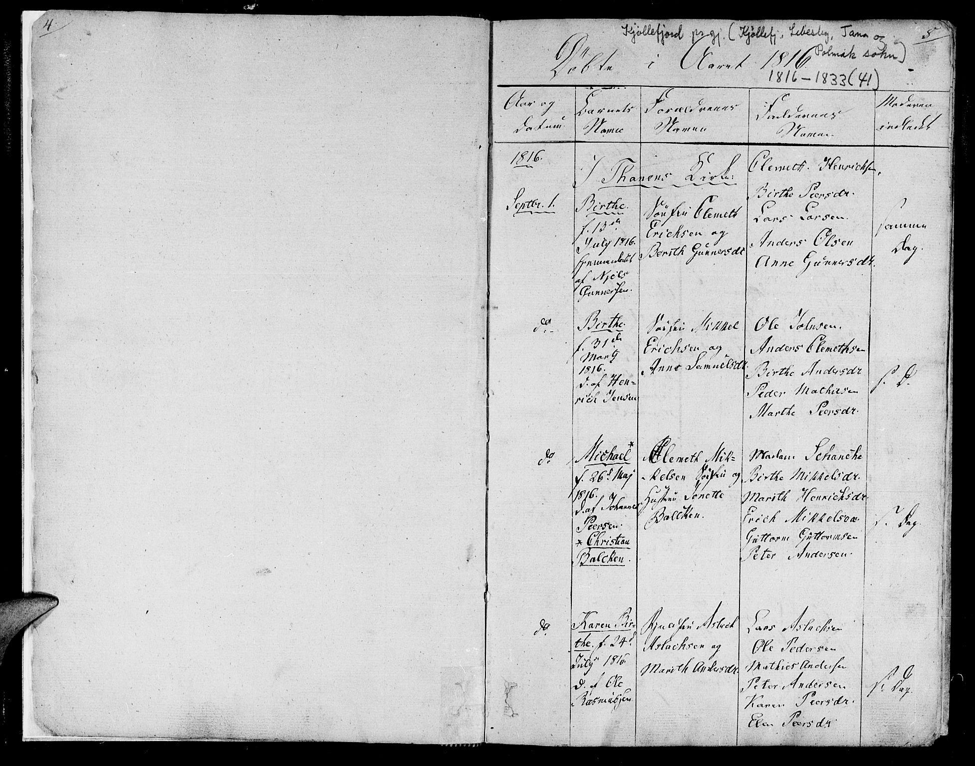 SATØ, Lebesby sokneprestkontor, H/Ha/L0002kirke: Ministerialbok nr. 2, 1816-1833, s. 5