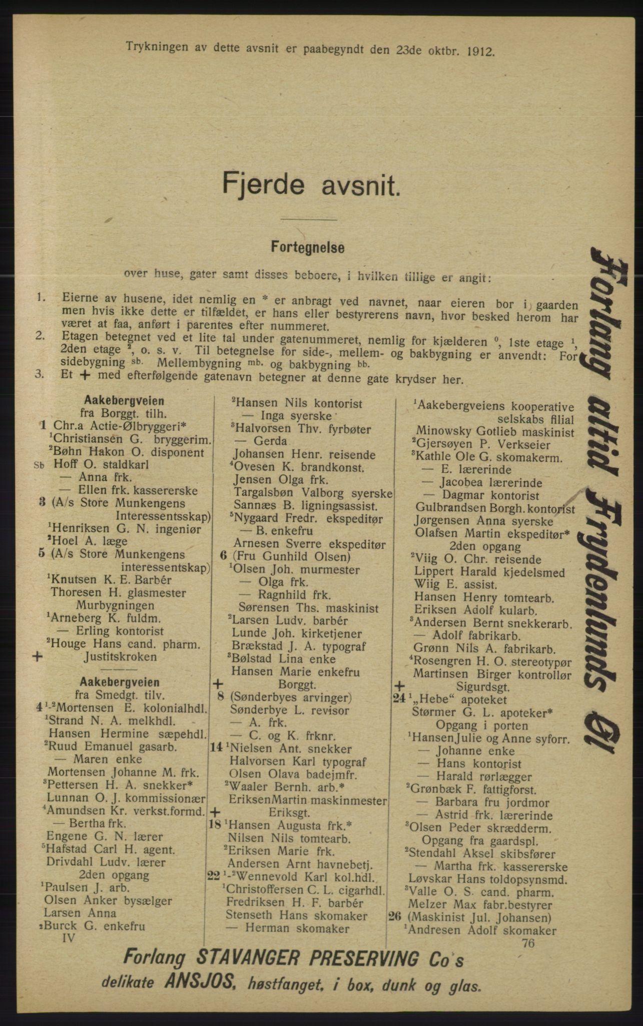 RA, Kristiania adressebok (publikasjon)*, 1913, s. 1199