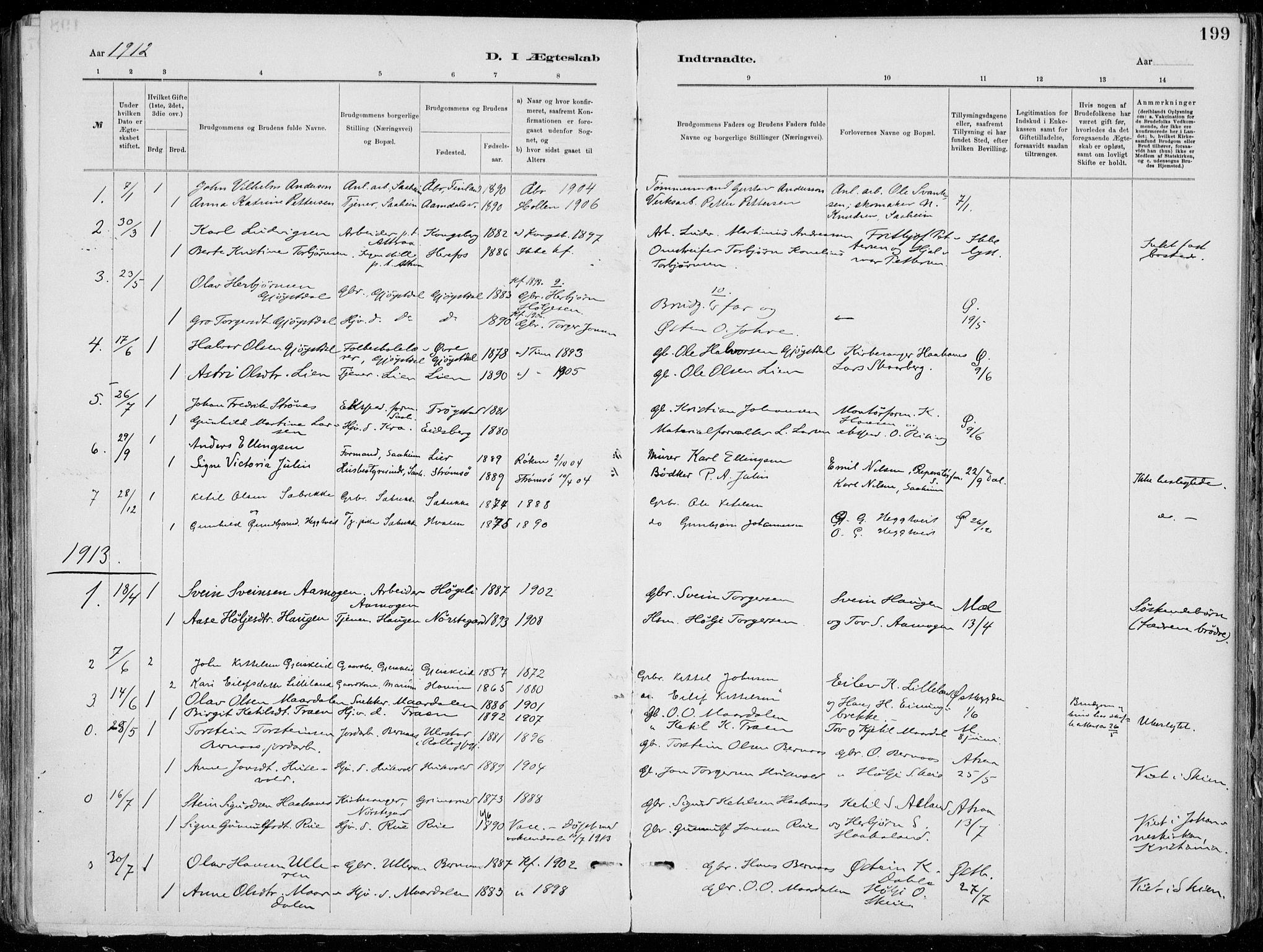 SAKO, Tinn kirkebøker, F/Fa/L0007: Ministerialbok nr. I 7, 1878-1922, s. 199