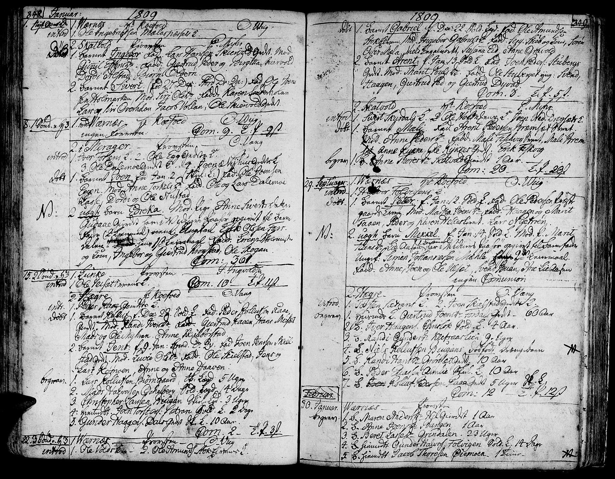 SAT, Ministerialprotokoller, klokkerbøker og fødselsregistre - Nord-Trøndelag, 709/L0060: Ministerialbok nr. 709A07, 1797-1815, s. 348-349