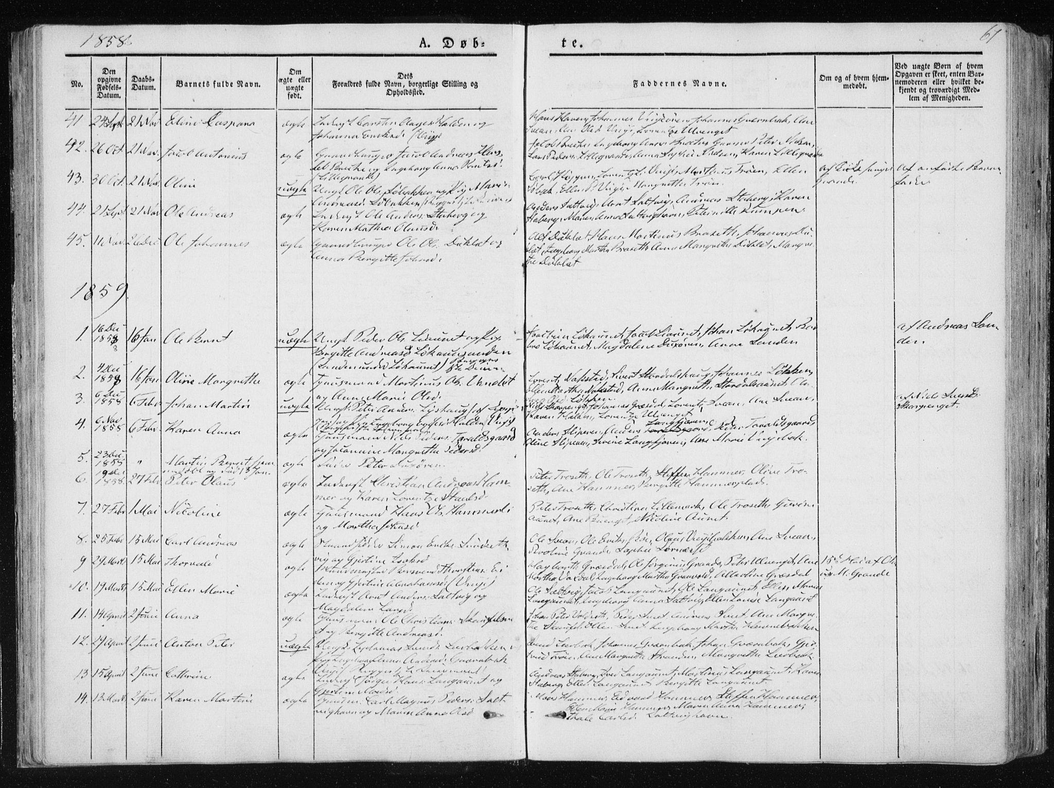 SAT, Ministerialprotokoller, klokkerbøker og fødselsregistre - Nord-Trøndelag, 733/L0323: Ministerialbok nr. 733A02, 1843-1870, s. 67