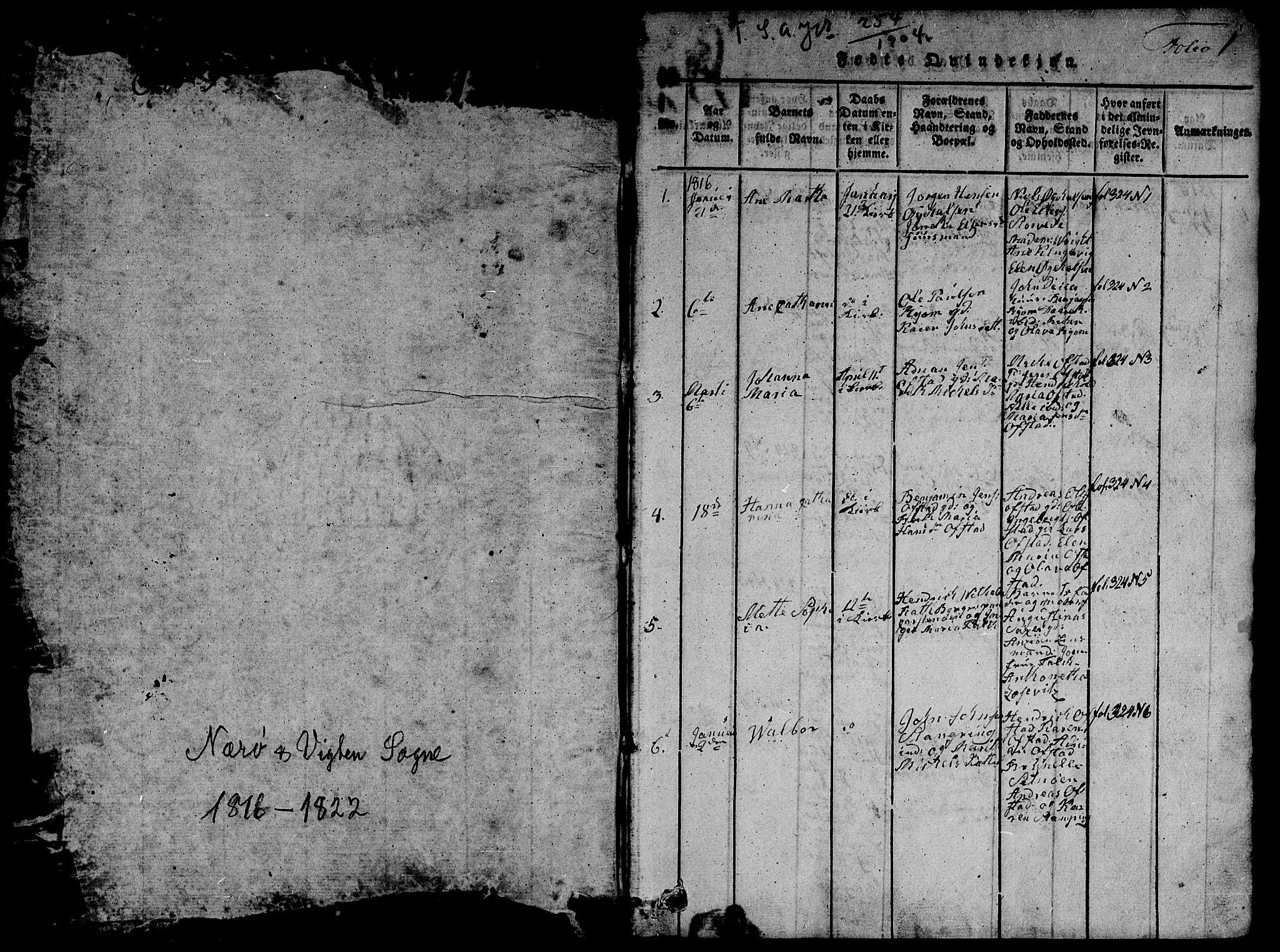 SAT, Ministerialprotokoller, klokkerbøker og fødselsregistre - Nord-Trøndelag, 784/L0679: Klokkerbok nr. 784C01 /1, 1816-1822, s. 1