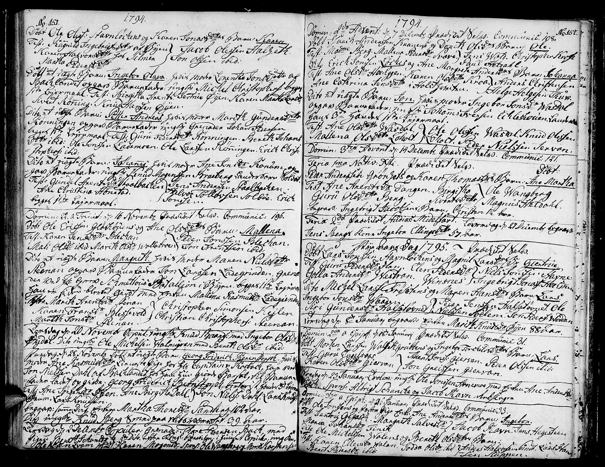 SAT, Ministerialprotokoller, klokkerbøker og fødselsregistre - Sør-Trøndelag, 604/L0180: Ministerialbok nr. 604A01, 1780-1797, s. 151-152