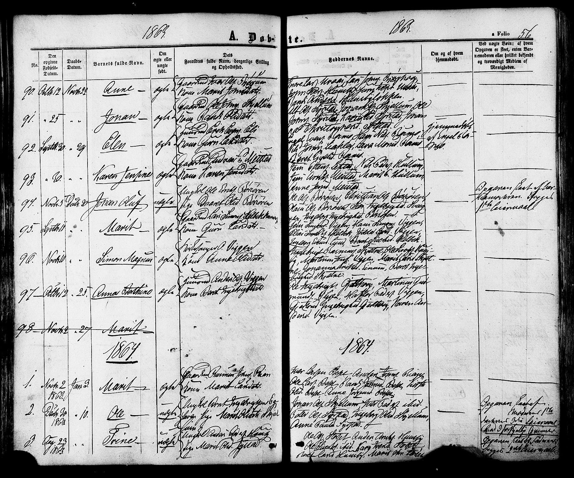 SAT, Ministerialprotokoller, klokkerbøker og fødselsregistre - Sør-Trøndelag, 665/L0772: Ministerialbok nr. 665A07, 1856-1878, s. 56