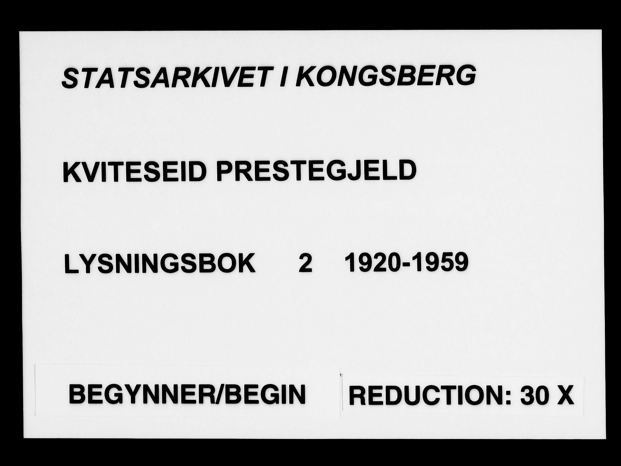SAKO, Kviteseid kirkebøker, H/Ha/L0002: Lysningsprotokoll nr. 2, 1920-1959