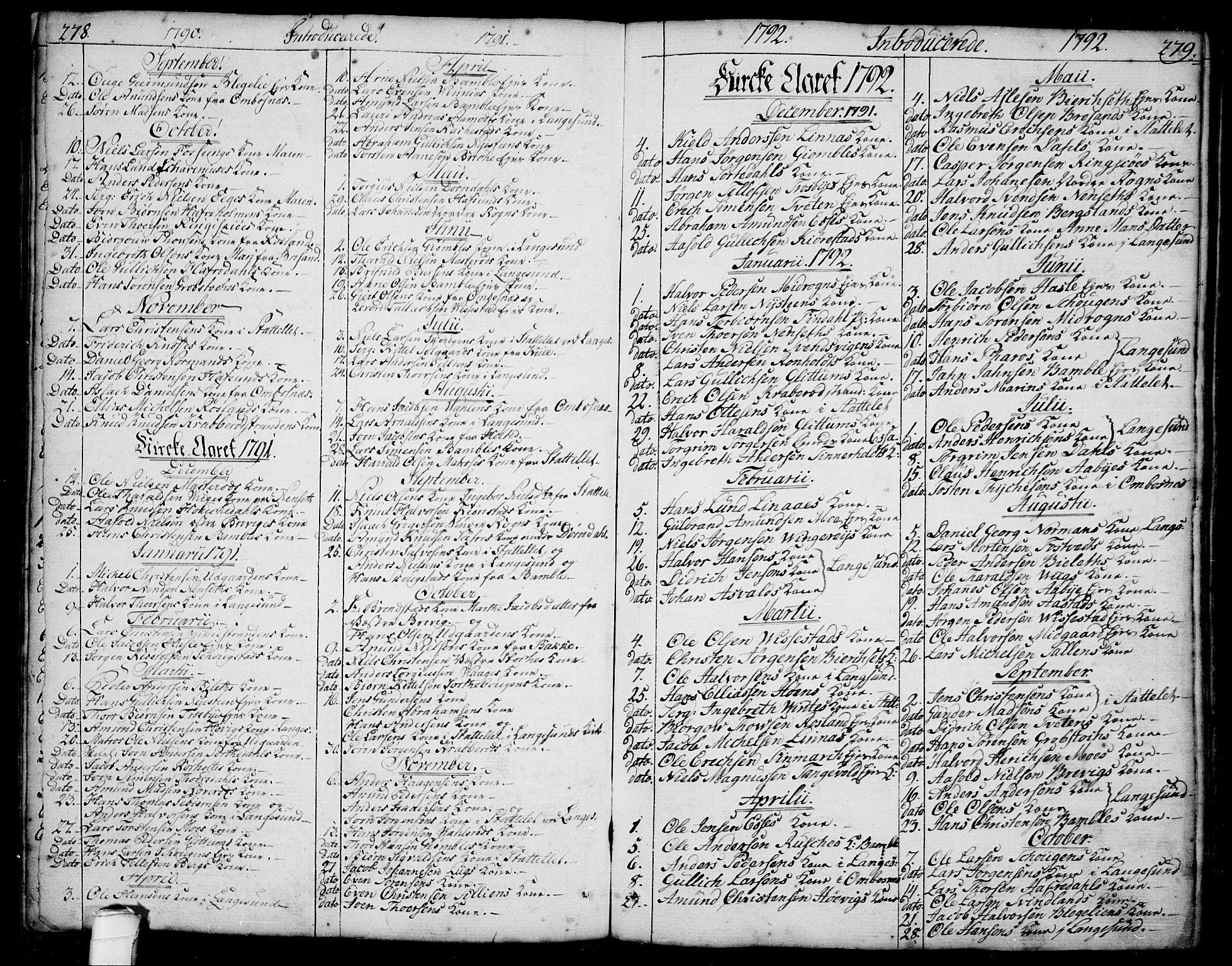 SAKO, Bamble kirkebøker, F/Fa/L0002: Ministerialbok nr. I 2, 1775-1814, s. 278-279