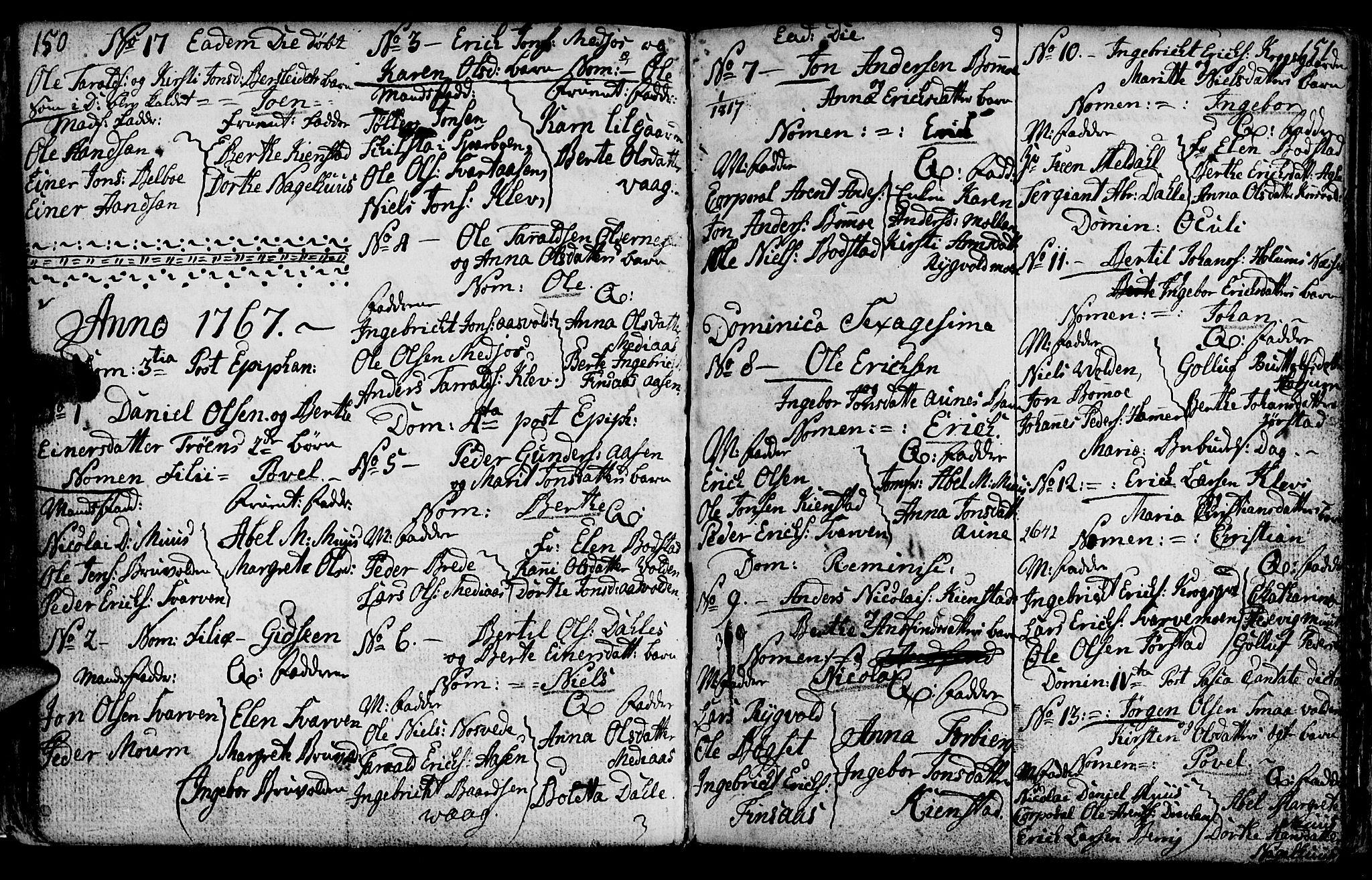 SAT, Ministerialprotokoller, klokkerbøker og fødselsregistre - Nord-Trøndelag, 749/L0467: Ministerialbok nr. 749A01, 1733-1787, s. 150-151