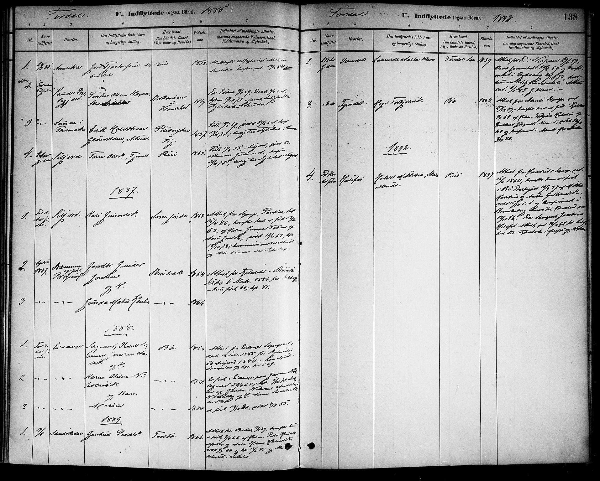 SAKO, Drangedal kirkebøker, F/Fa/L0011: Ministerialbok nr. 11 /2, 1885-1894, s. 138