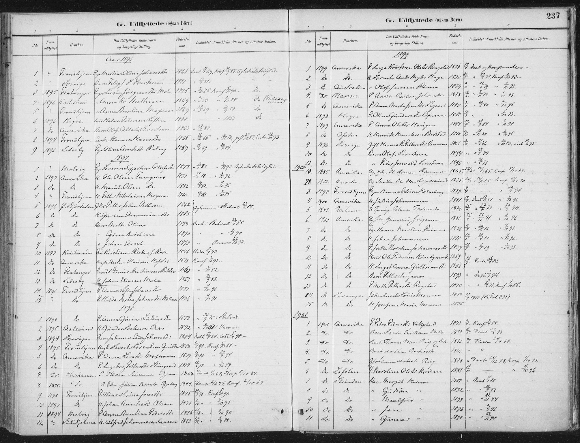 SAT, Ministerialprotokoller, klokkerbøker og fødselsregistre - Nord-Trøndelag, 709/L0082: Ministerialbok nr. 709A22, 1896-1916, s. 237