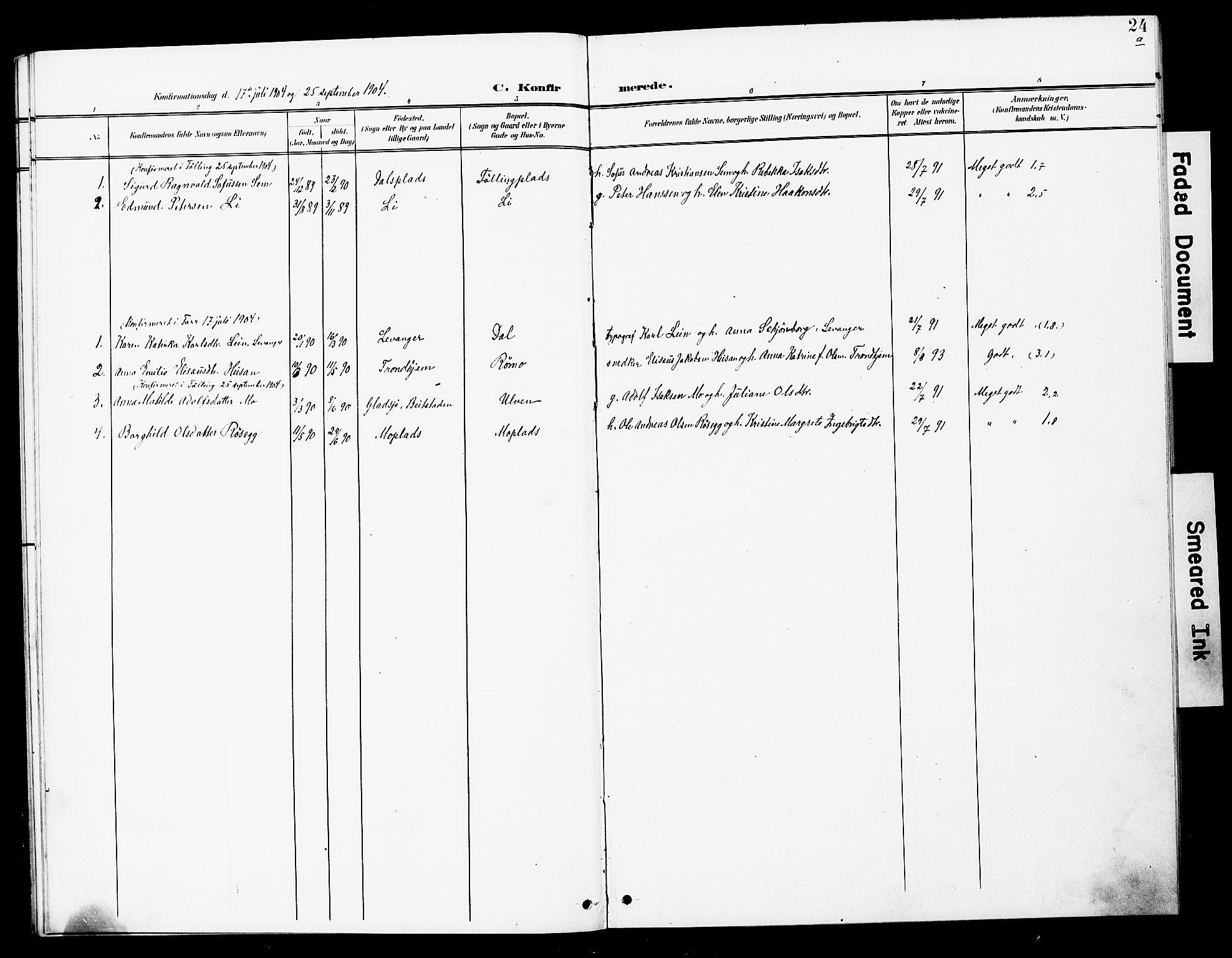 SAT, Ministerialprotokoller, klokkerbøker og fødselsregistre - Nord-Trøndelag, 748/L0464: Ministerialbok nr. 748A01, 1900-1908, s. 24a