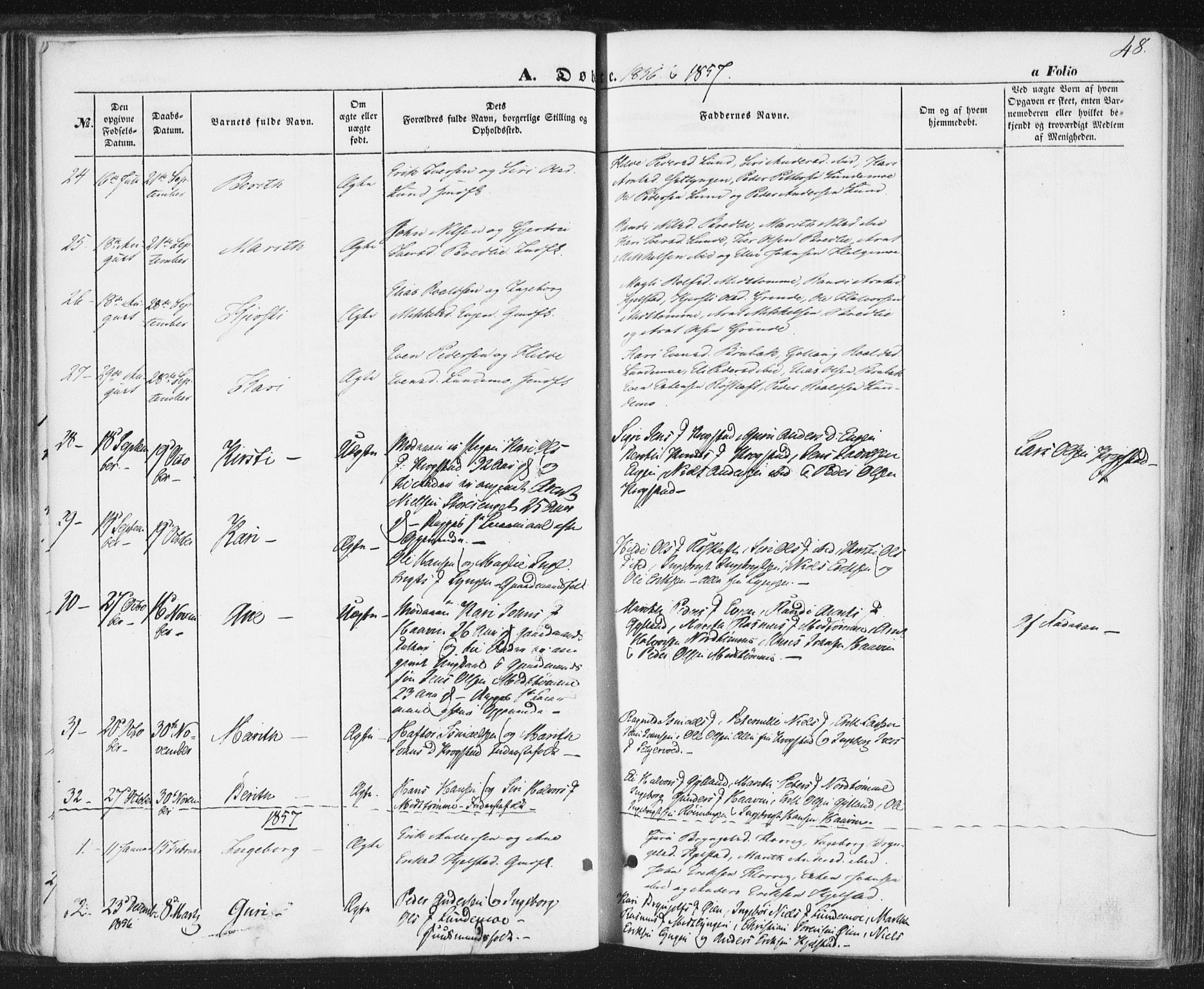 SAT, Ministerialprotokoller, klokkerbøker og fødselsregistre - Sør-Trøndelag, 692/L1103: Ministerialbok nr. 692A03, 1849-1870, s. 48