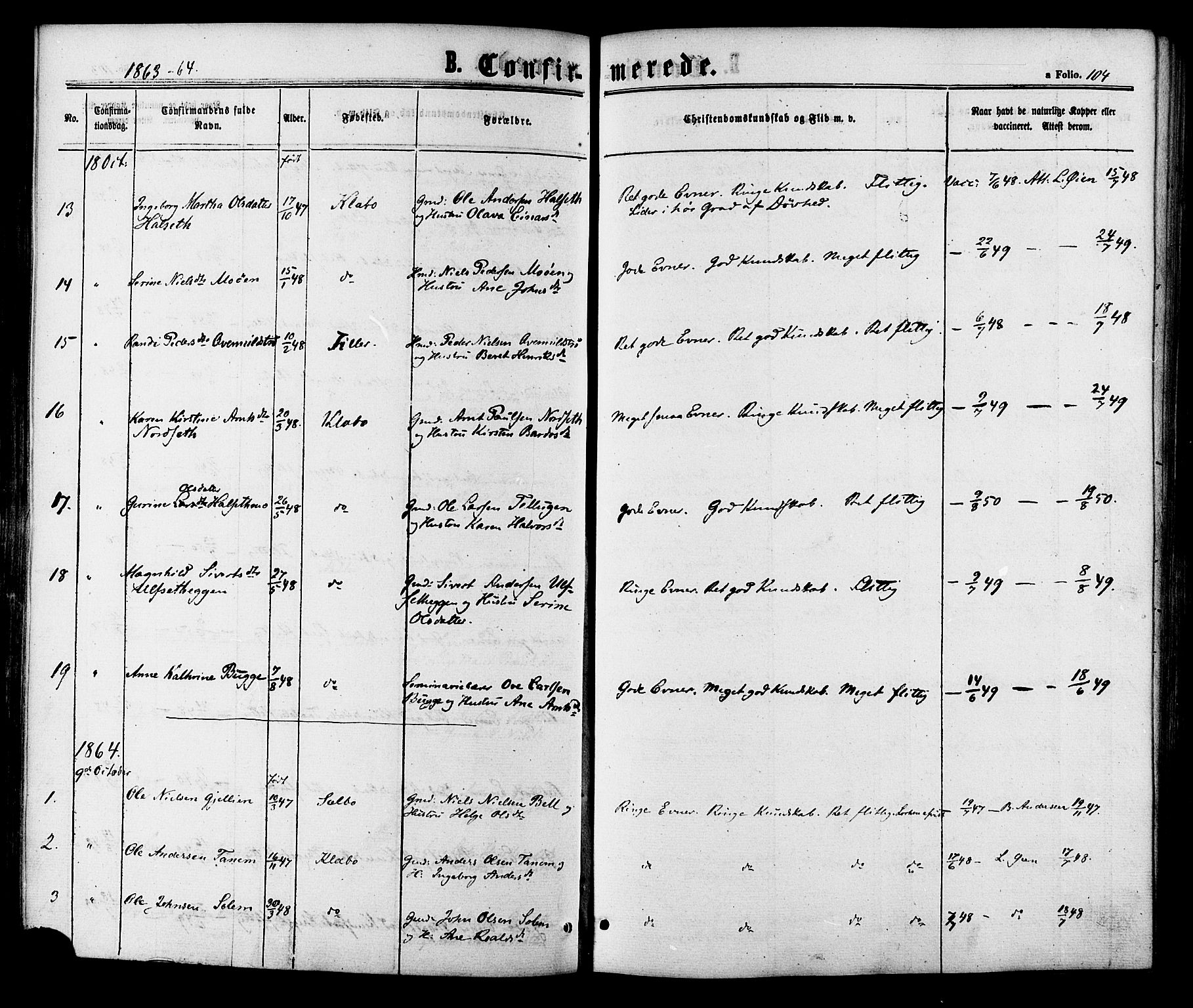 SAT, Ministerialprotokoller, klokkerbøker og fødselsregistre - Sør-Trøndelag, 618/L0442: Ministerialbok nr. 618A06 /1, 1863-1879, s. 104