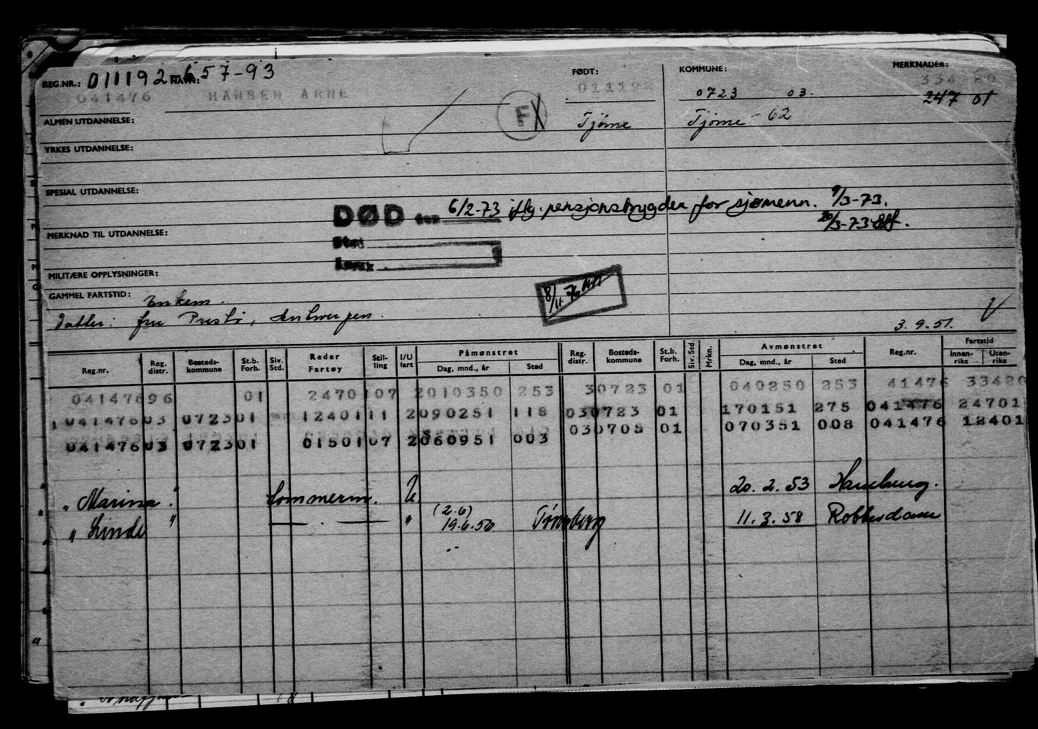 RA, Direktoratet for sjømenn, G/Gb/L0012: Hovedkort, 1892-1893, s. 239