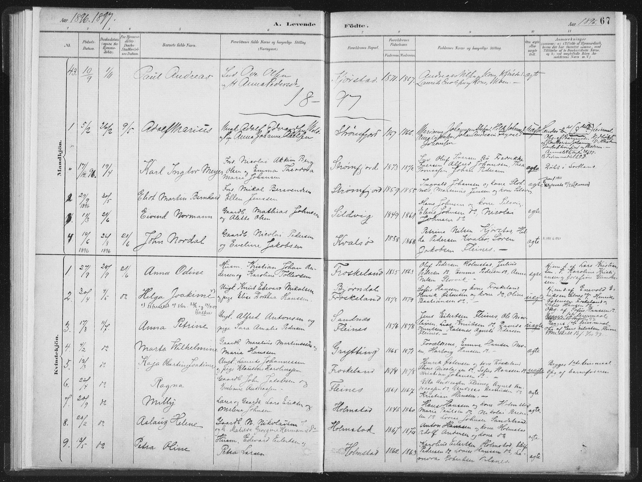 SAT, Ministerialprotokoller, klokkerbøker og fødselsregistre - Nordland, 890/L1286: Ministerialbok nr. 890A01, 1882-1902, s. 67