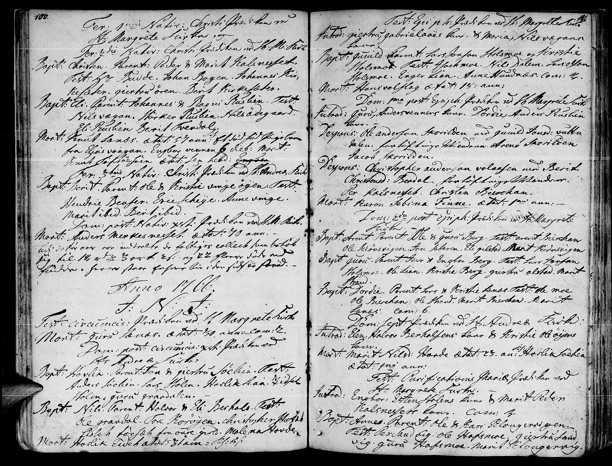 SAT, Ministerialprotokoller, klokkerbøker og fødselsregistre - Sør-Trøndelag, 630/L0489: Ministerialbok nr. 630A02, 1757-1794, s. 100-101