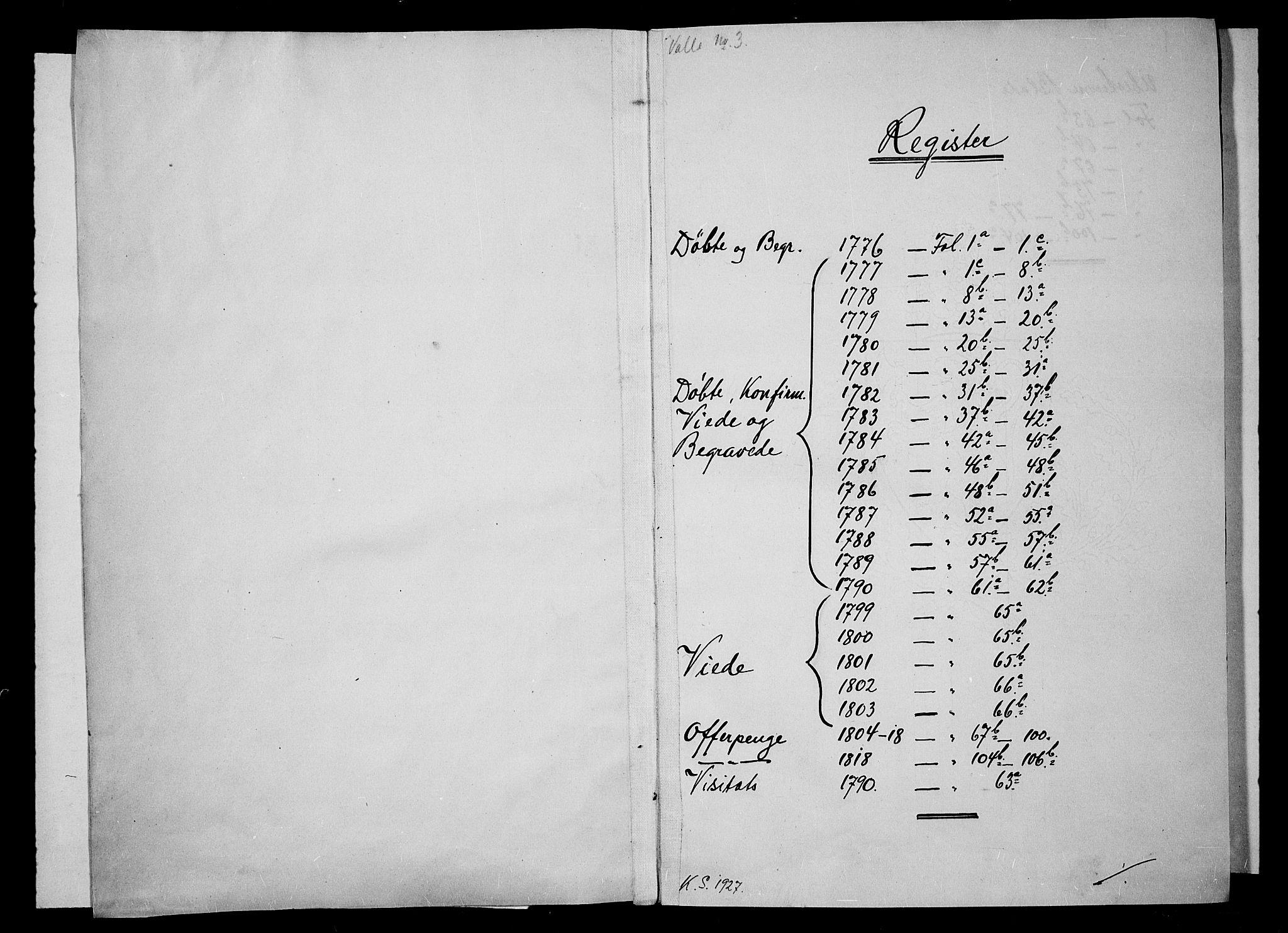 SAK, Valle sokneprestkontor, F/Fa/Fac/L0003: Ministerialbok nr. A 3, 1776-1790
