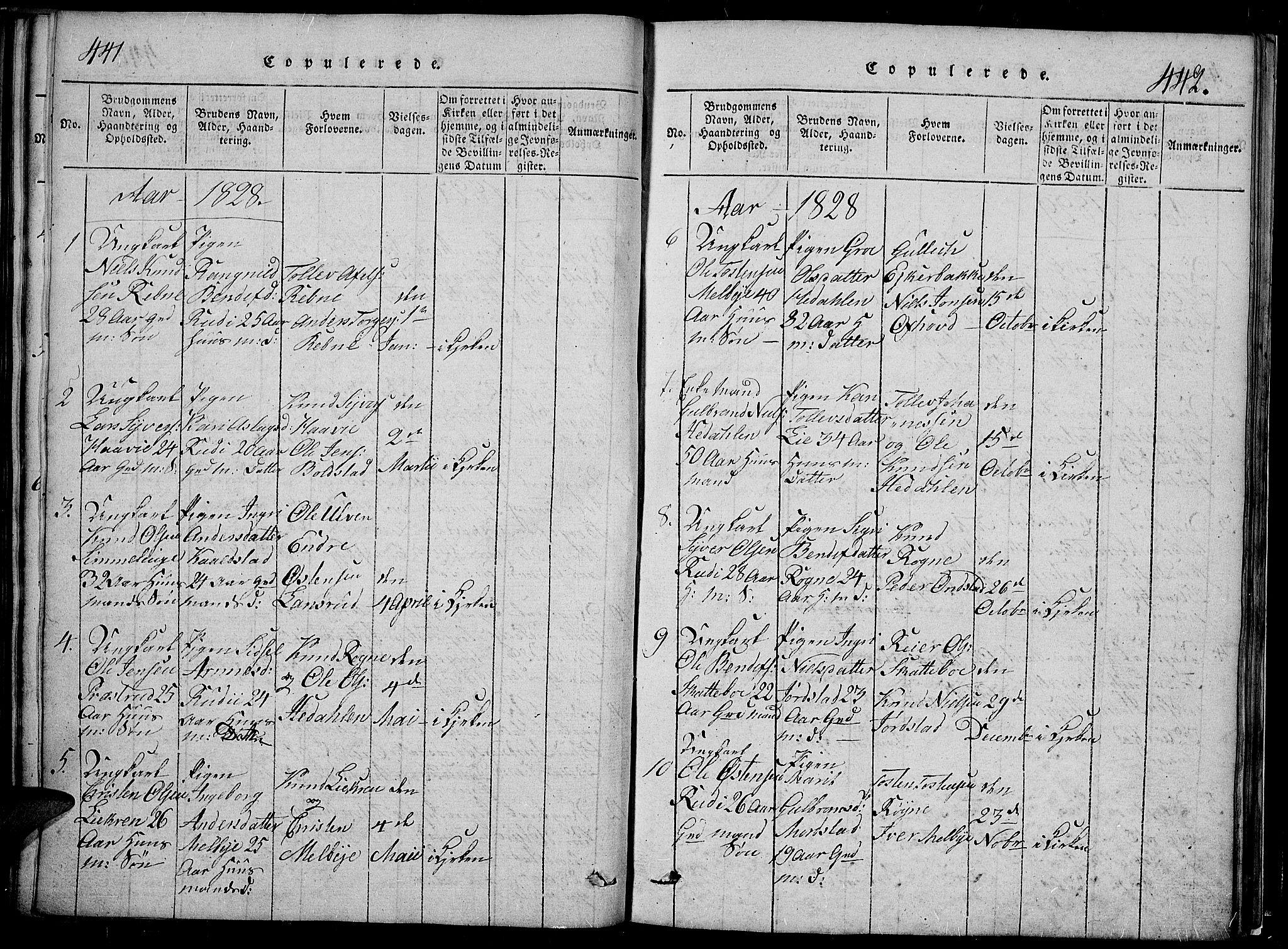 SAH, Slidre prestekontor, Klokkerbok nr. 2, 1814-1839, s. 441-442