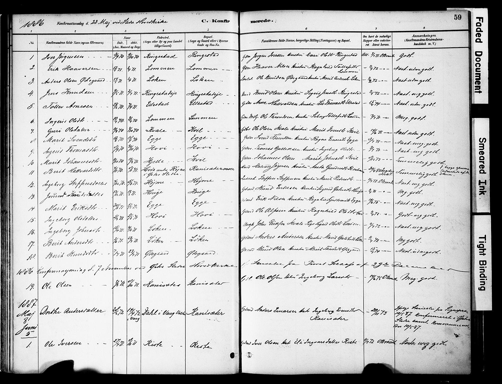 SAH, Vestre Slidre prestekontor, Ministerialbok nr. 5, 1881-1912, s. 59
