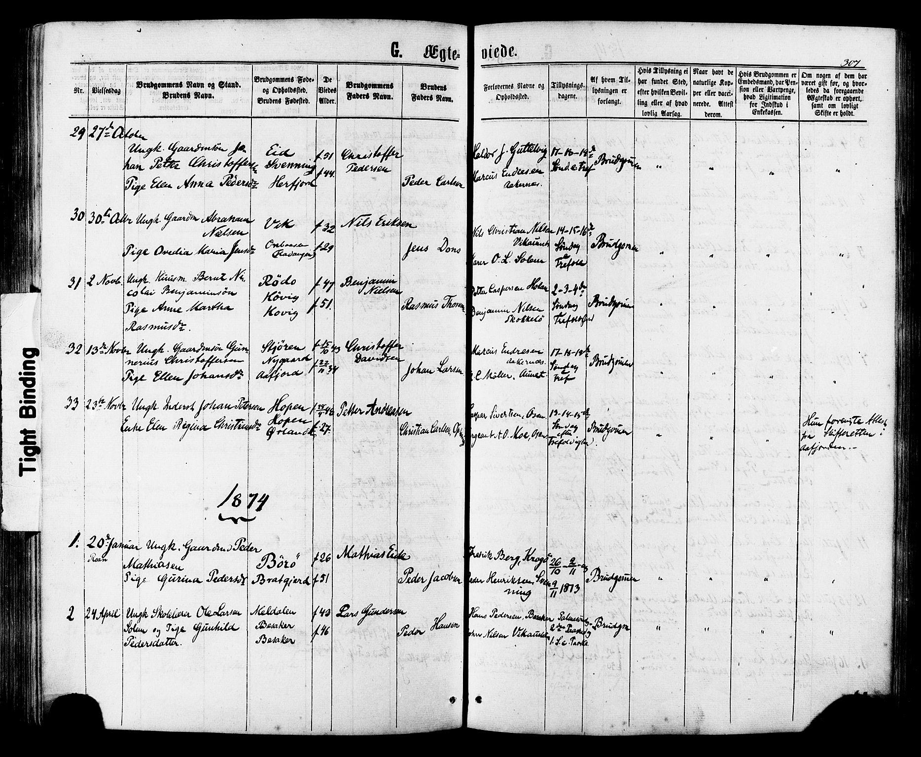 SAT, Ministerialprotokoller, klokkerbøker og fødselsregistre - Sør-Trøndelag, 657/L0706: Ministerialbok nr. 657A07, 1867-1878, s. 307