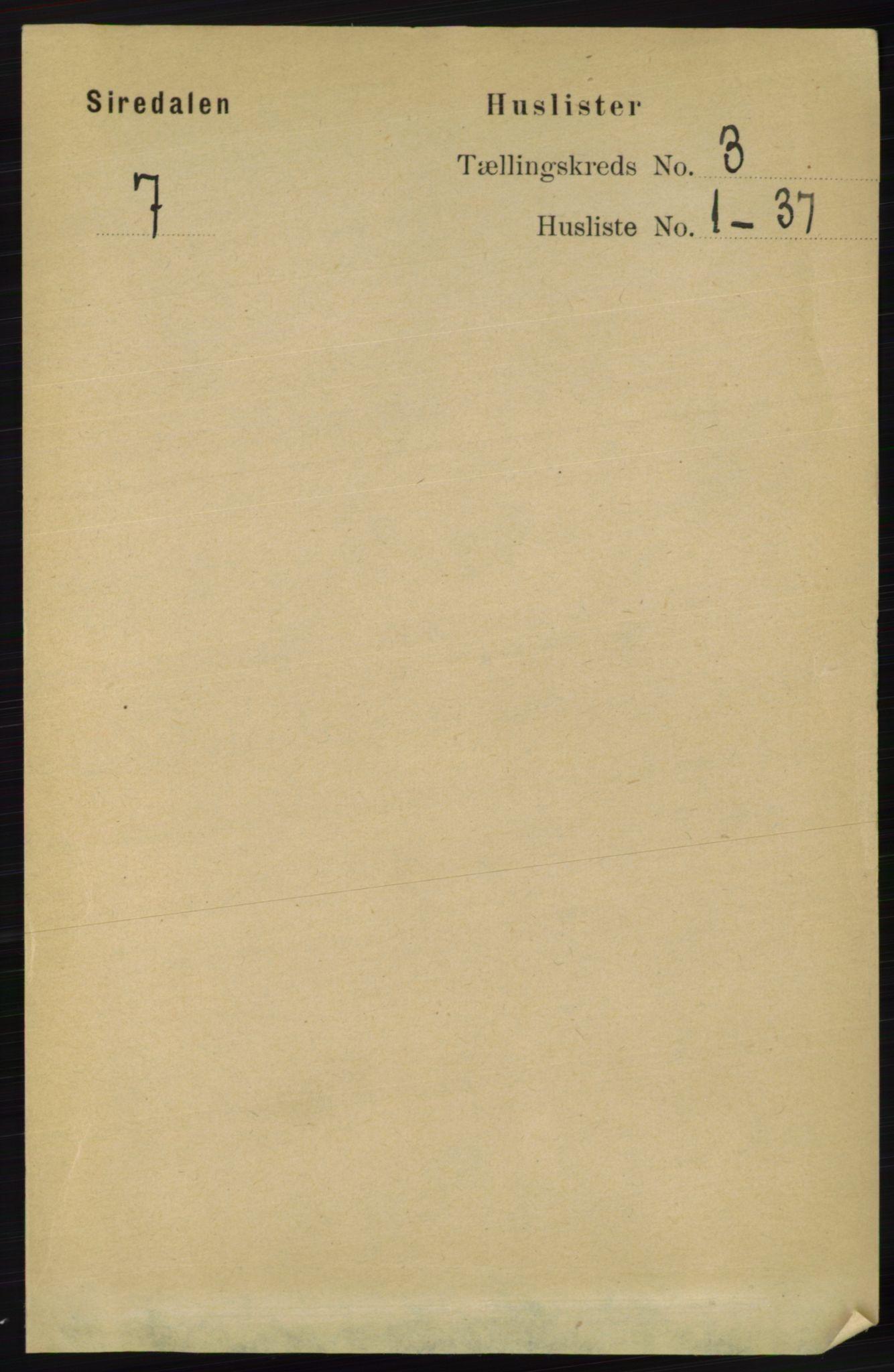 RA, Folketelling 1891 for 1046 Sirdal herred, 1891, s. 620