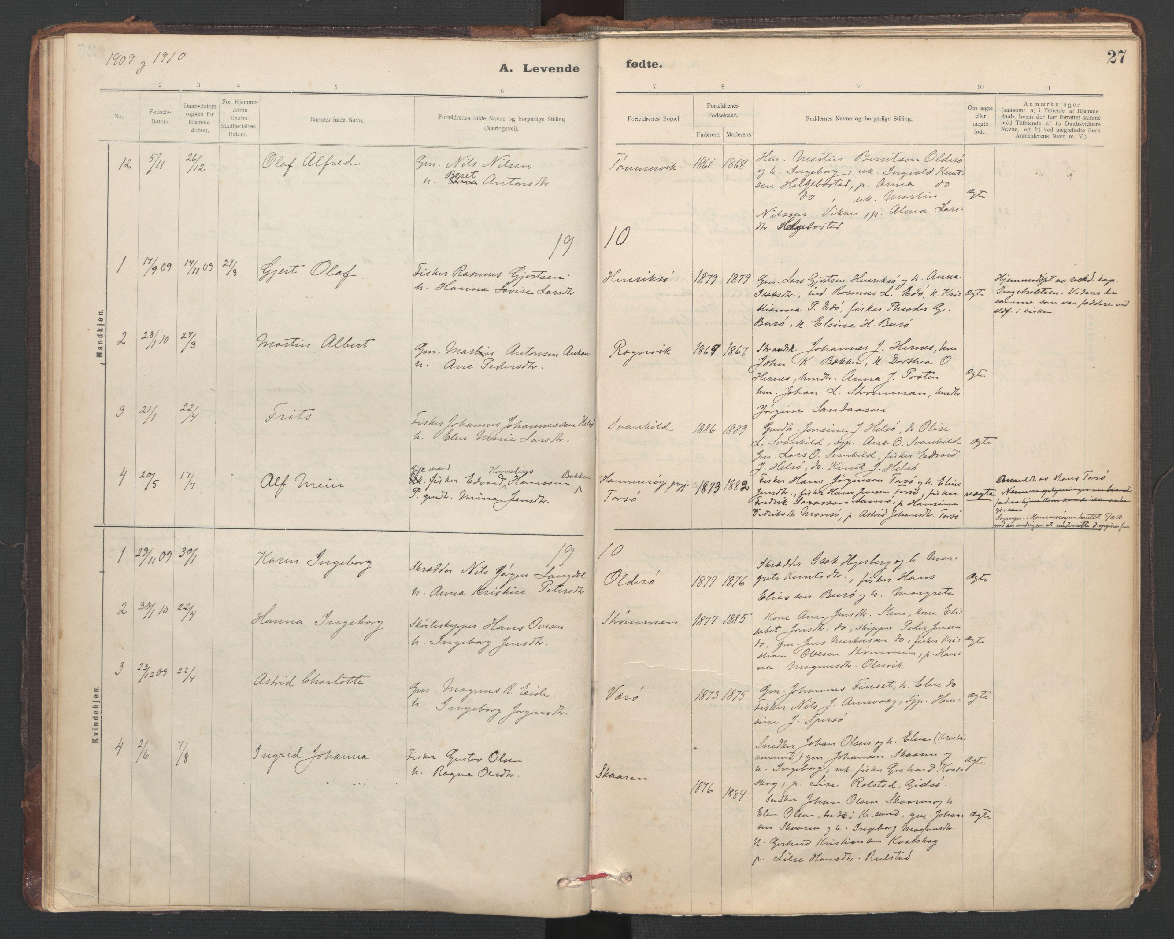 SAT, Ministerialprotokoller, klokkerbøker og fødselsregistre - Sør-Trøndelag, 635/L0552: Ministerialbok nr. 635A02, 1899-1919, s. 27