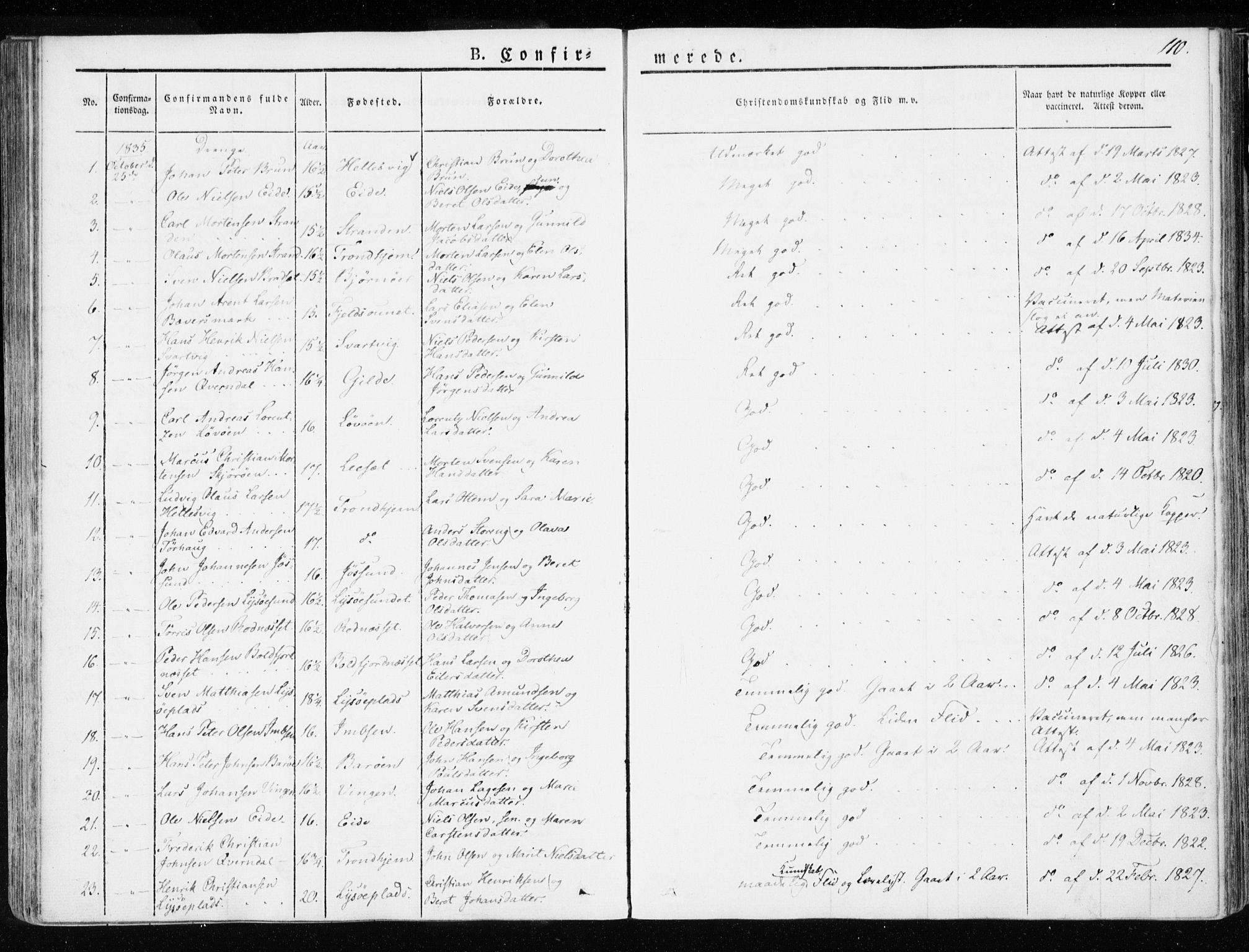 SAT, Ministerialprotokoller, klokkerbøker og fødselsregistre - Sør-Trøndelag, 655/L0676: Ministerialbok nr. 655A05, 1830-1847, s. 110