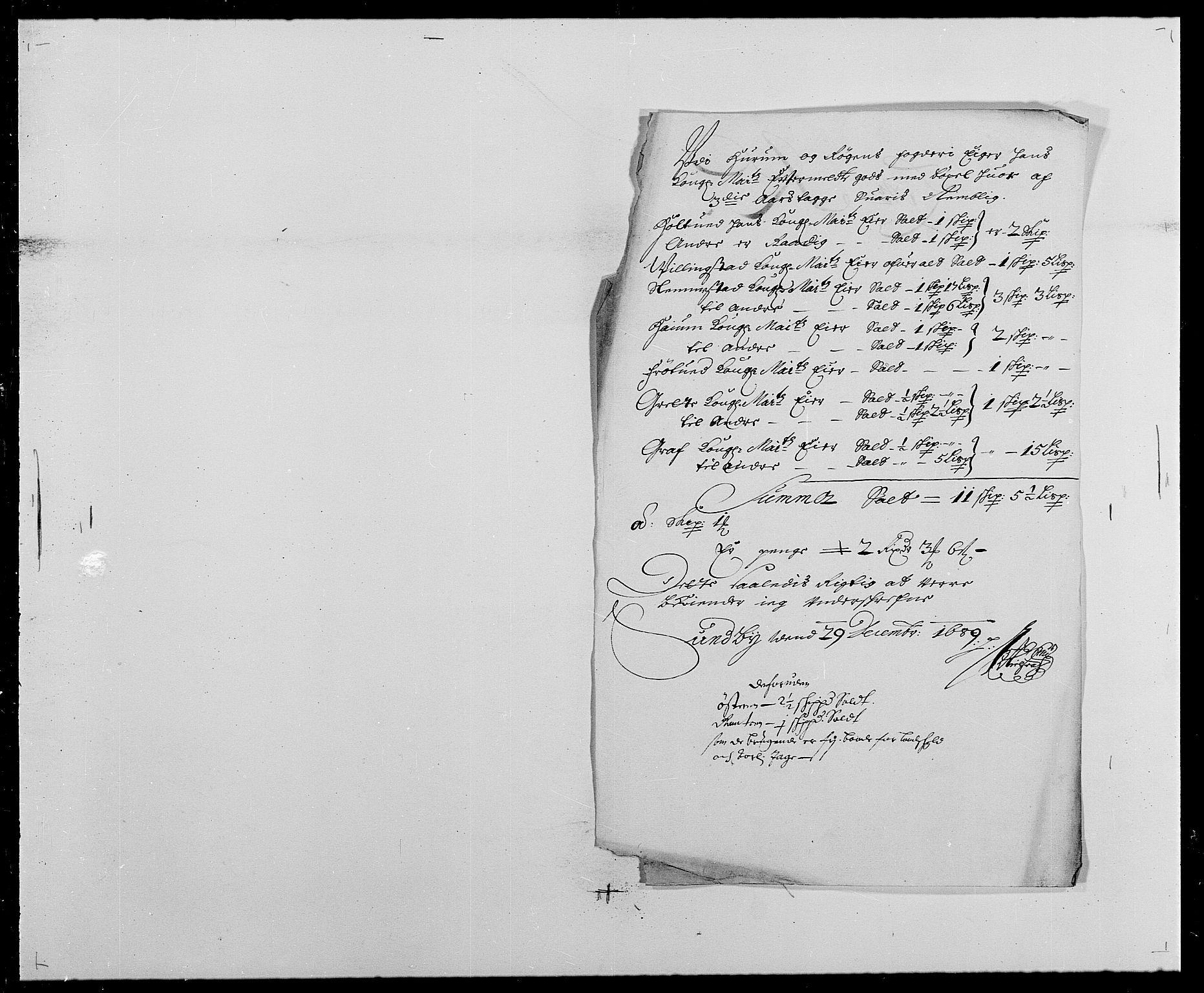 RA, Rentekammeret inntil 1814, Reviderte regnskaper, Fogderegnskap, R29/L1693: Fogderegnskap Hurum og Røyken, 1688-1693, s. 97