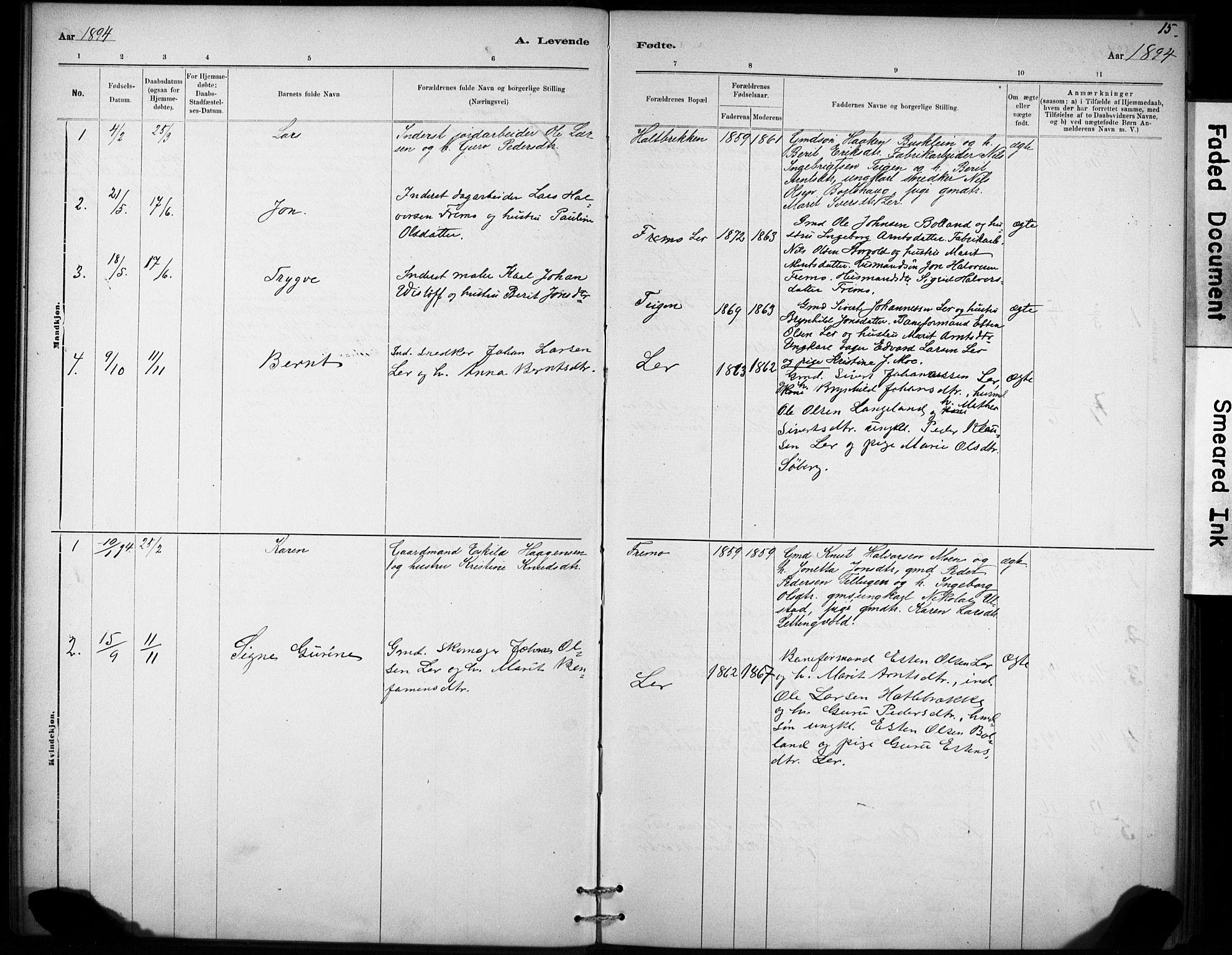 SAT, Ministerialprotokoller, klokkerbøker og fødselsregistre - Sør-Trøndelag, 693/L1119: Ministerialbok nr. 693A01, 1887-1905, s. 15