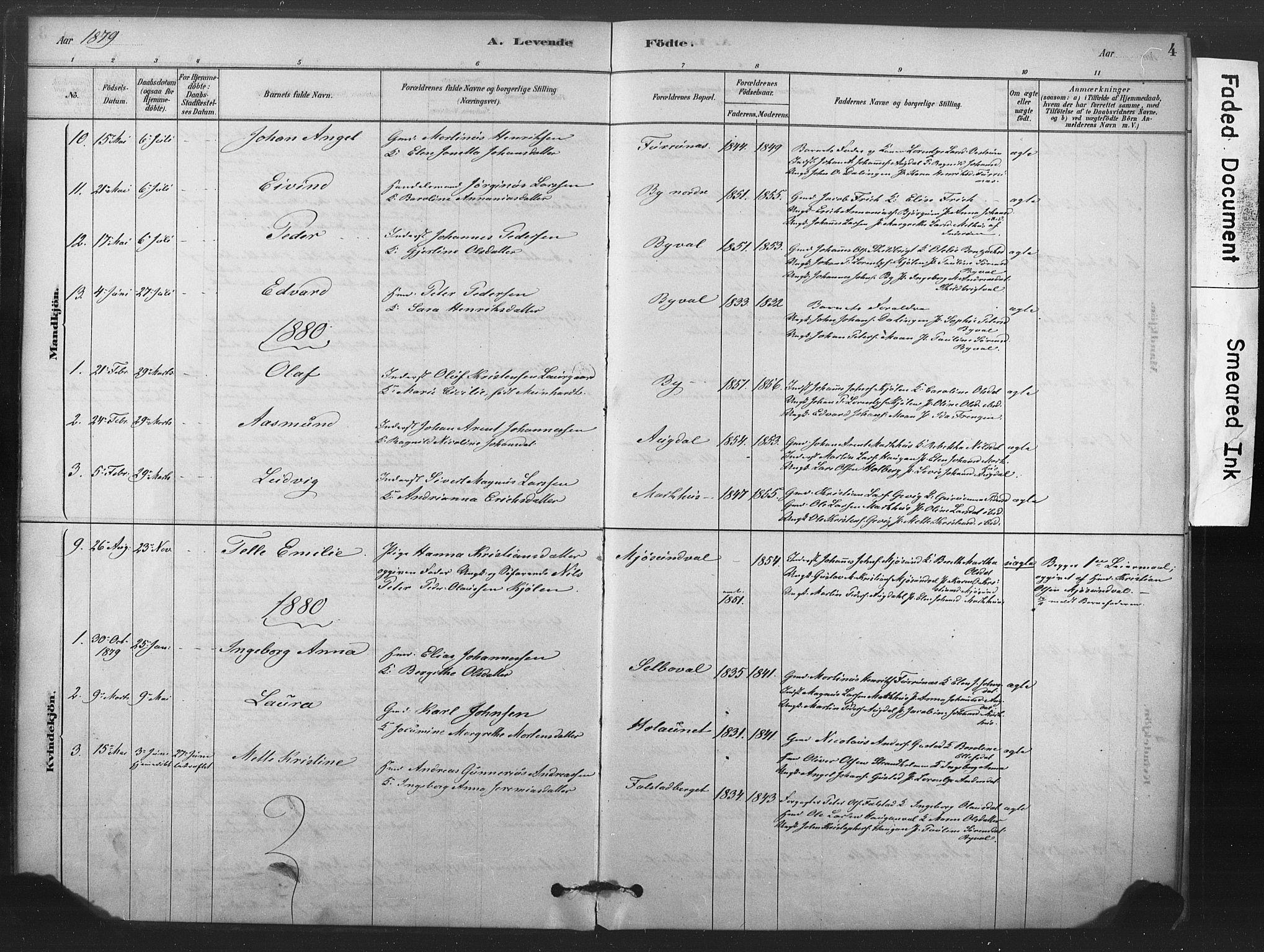 SAT, Ministerialprotokoller, klokkerbøker og fødselsregistre - Nord-Trøndelag, 719/L0178: Ministerialbok nr. 719A01, 1878-1900, s. 4