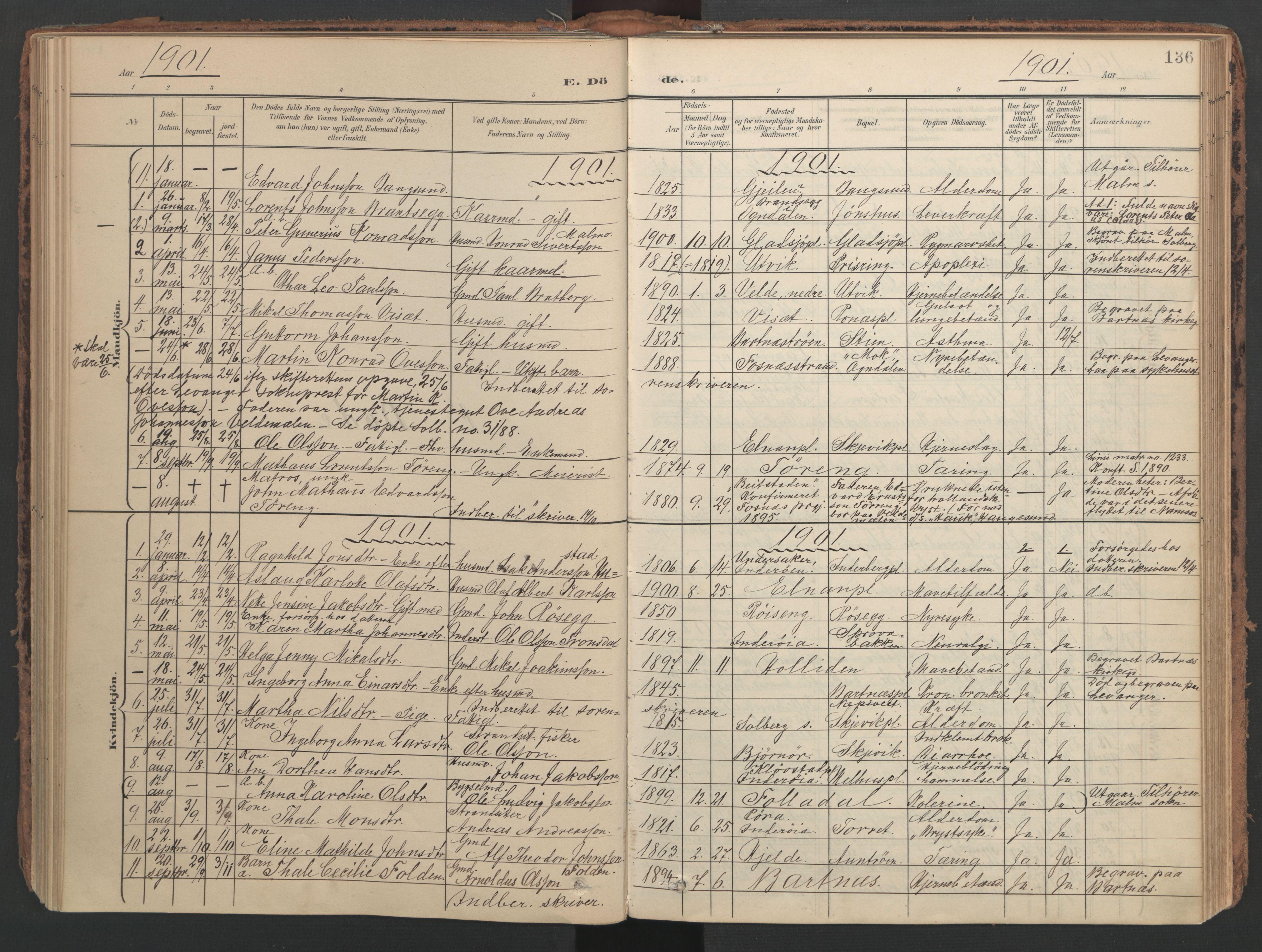 SAT, Ministerialprotokoller, klokkerbøker og fødselsregistre - Nord-Trøndelag, 741/L0397: Ministerialbok nr. 741A11, 1901-1911, s. 136