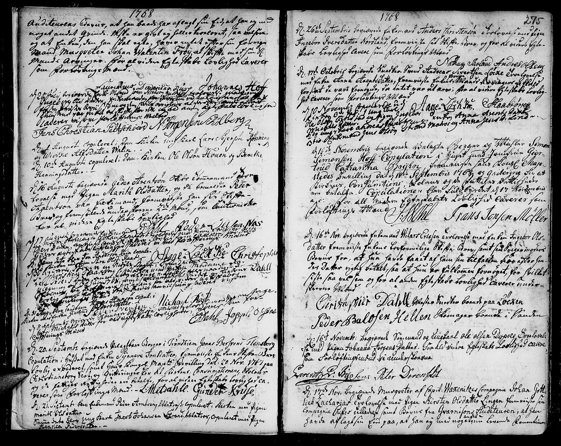 SAT, Ministerialprotokoller, klokkerbøker og fødselsregistre - Sør-Trøndelag, 601/L0038: Ministerialbok nr. 601A06, 1766-1877, s. 275