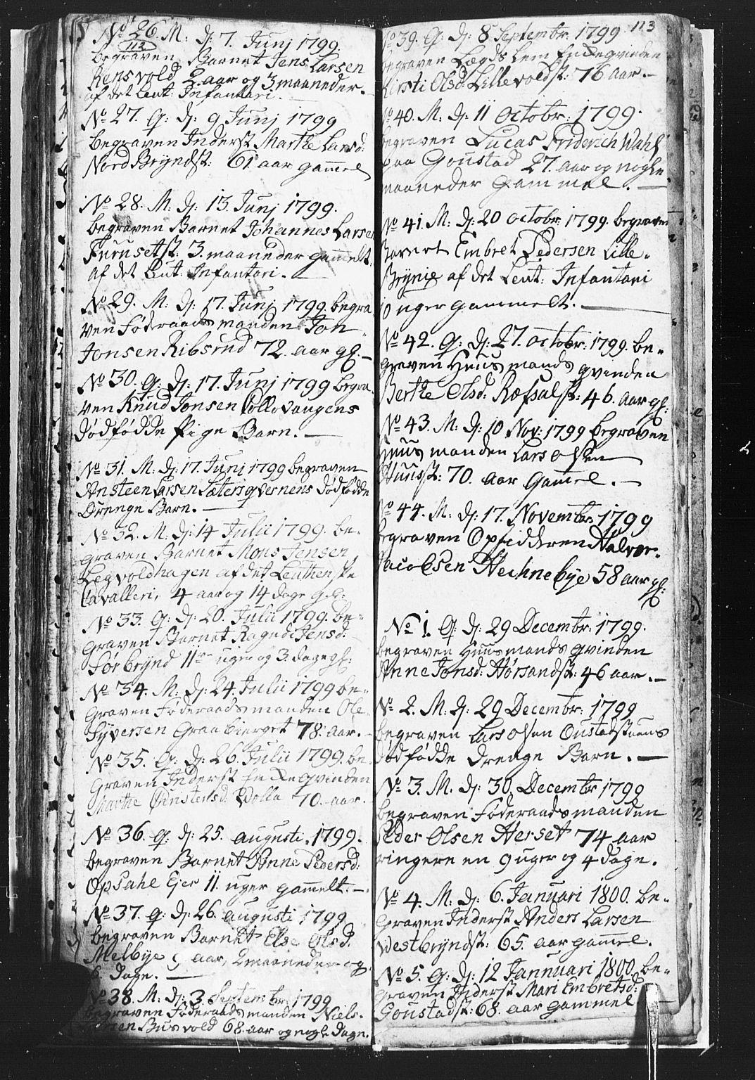 SAH, Romedal prestekontor, L/L0002: Klokkerbok nr. 2, 1795-1800, s. 112-113