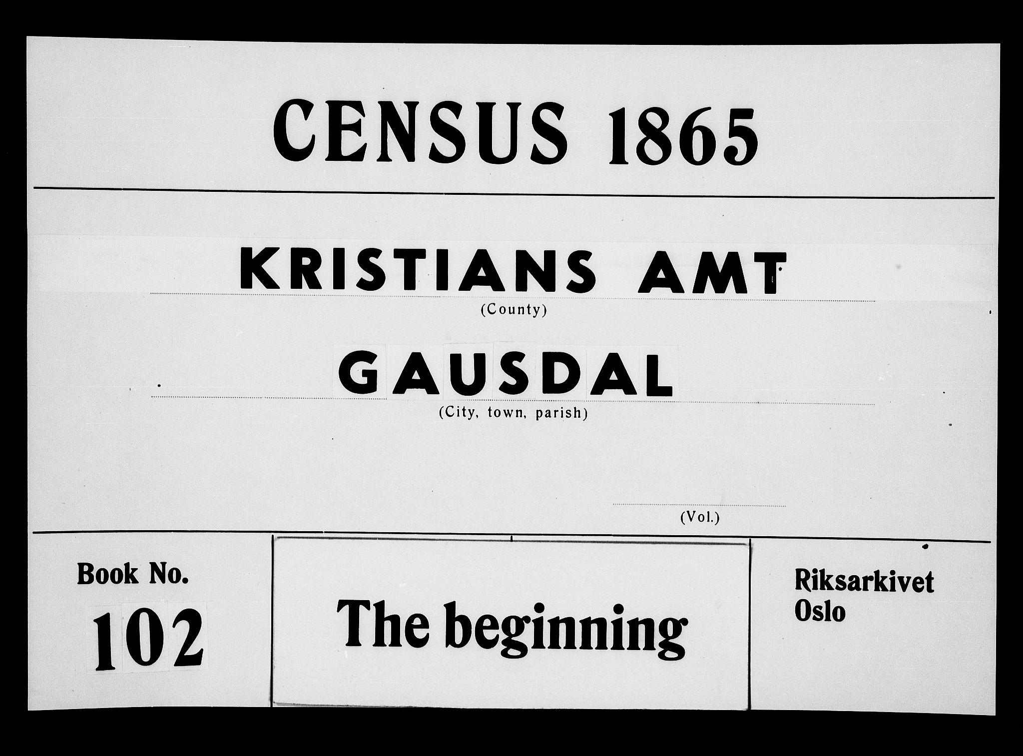 RA, Folketelling 1865 for 0522P Gausdal prestegjeld, 1865, s. 1