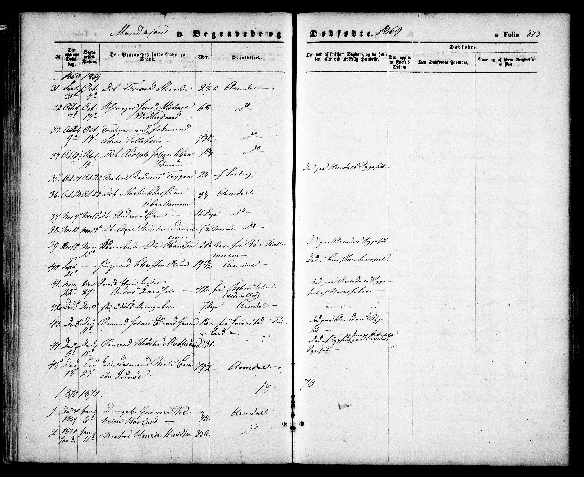 SAK, Arendal sokneprestkontor, Trefoldighet, F/Fa/L0007: Ministerialbok nr. A 7, 1868-1878, s. 373