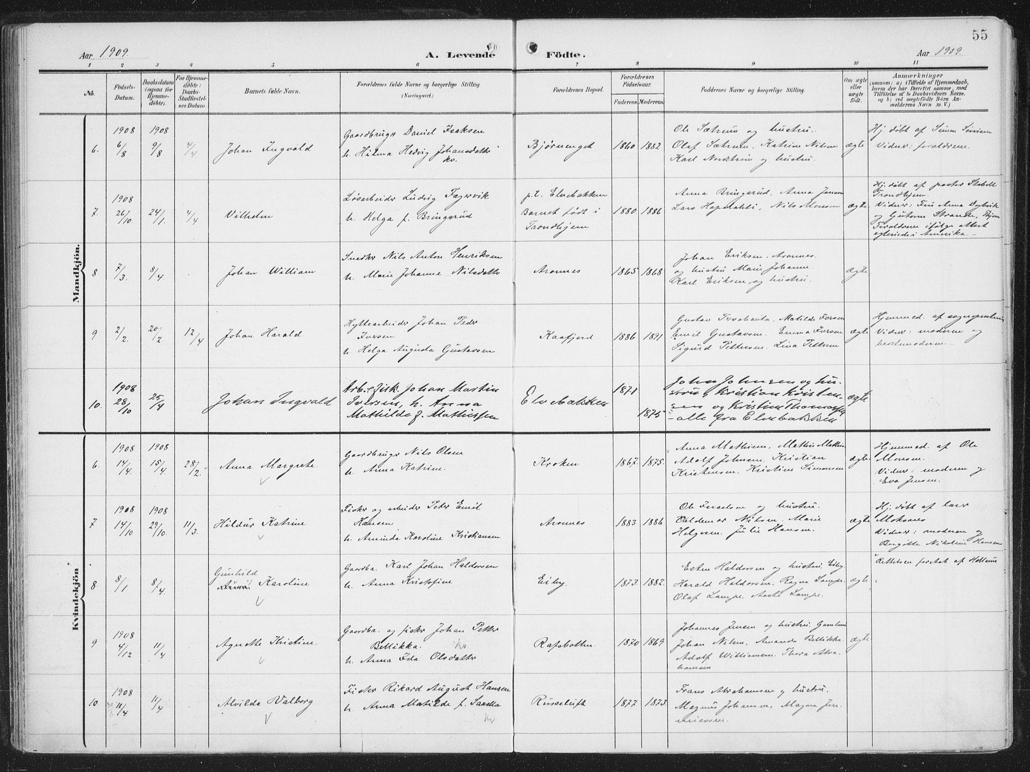 SATØ, Alta sokneprestembete, Ministerialbok nr. 5, 1904-1918, s. 55