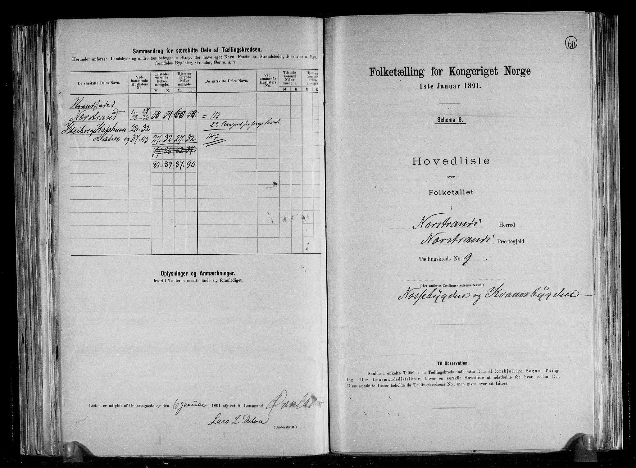 RA, Folketelling 1891 for 1139 Nedstrand herred, 1891, s. 21