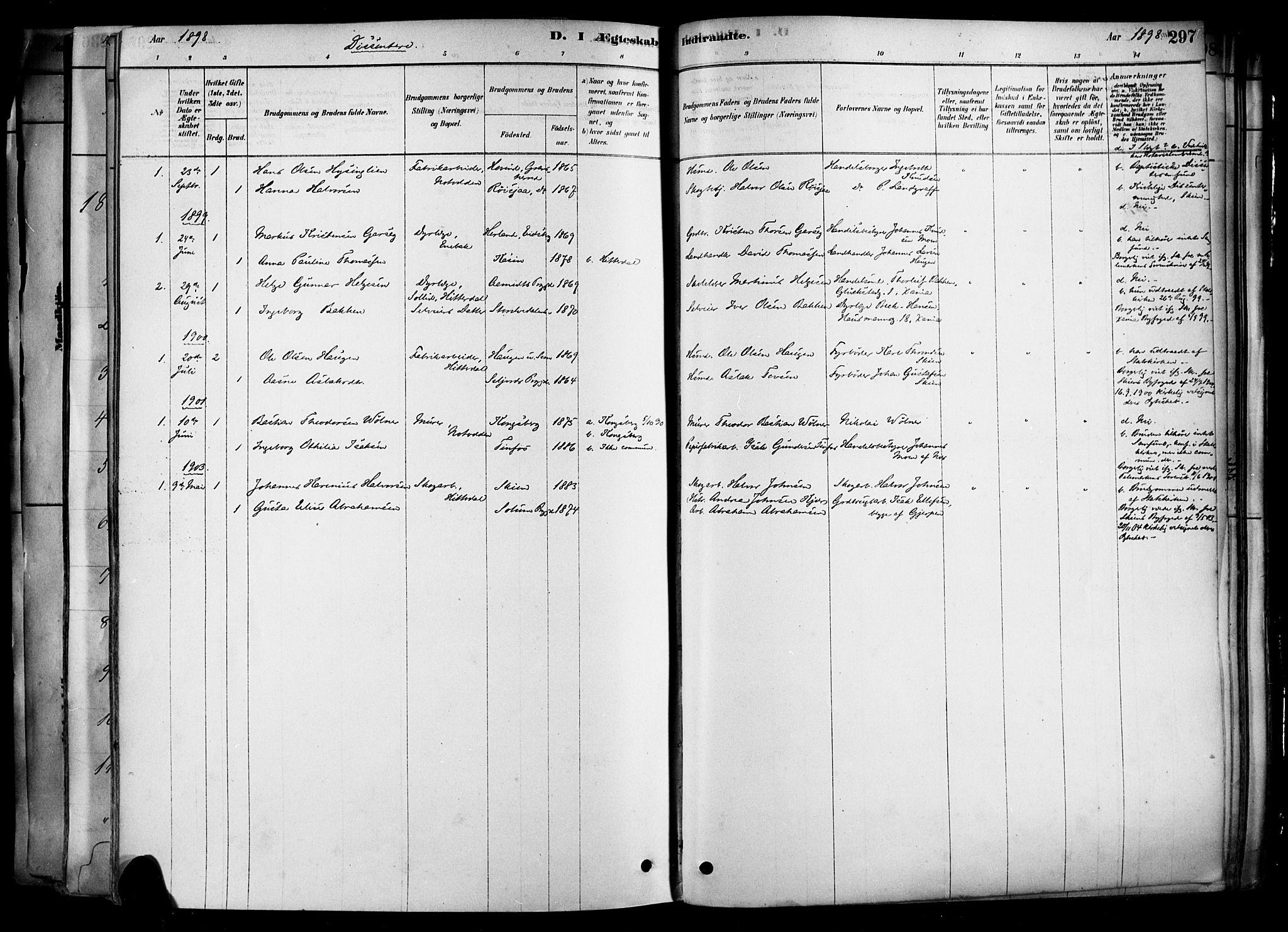 SAKO, Heddal kirkebøker, F/Fa/L0008: Ministerialbok nr. I 8, 1878-1903, s. 297