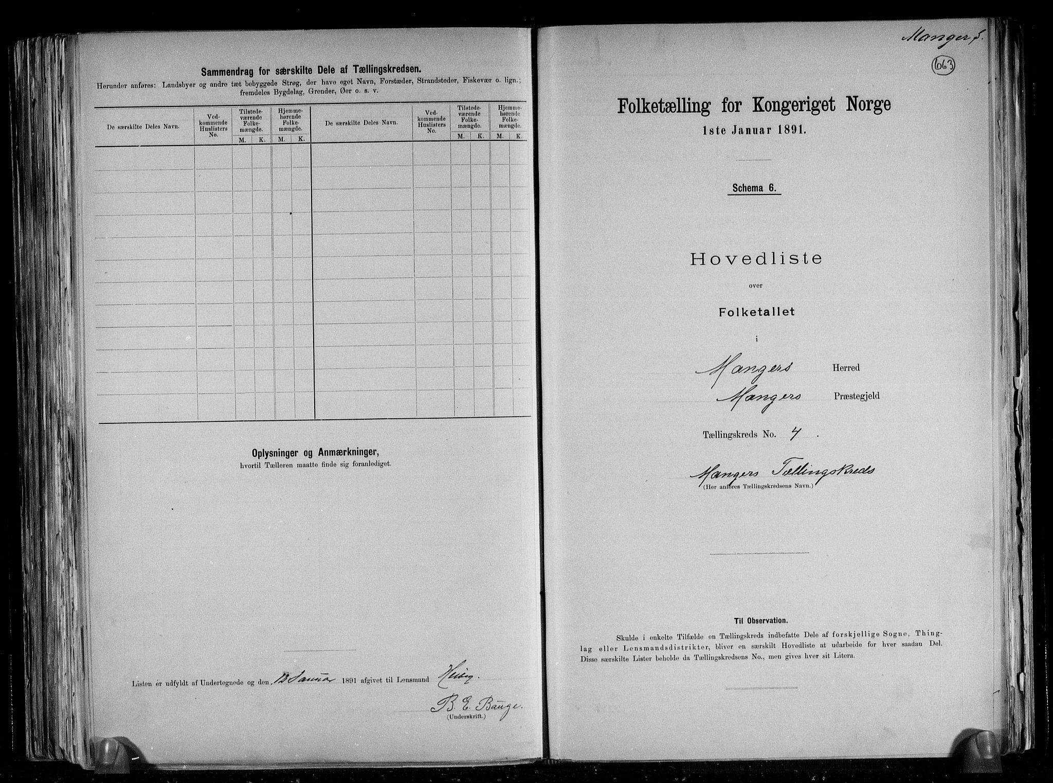 RA, Folketelling 1891 for 1261 Manger herred, 1891, s. 14