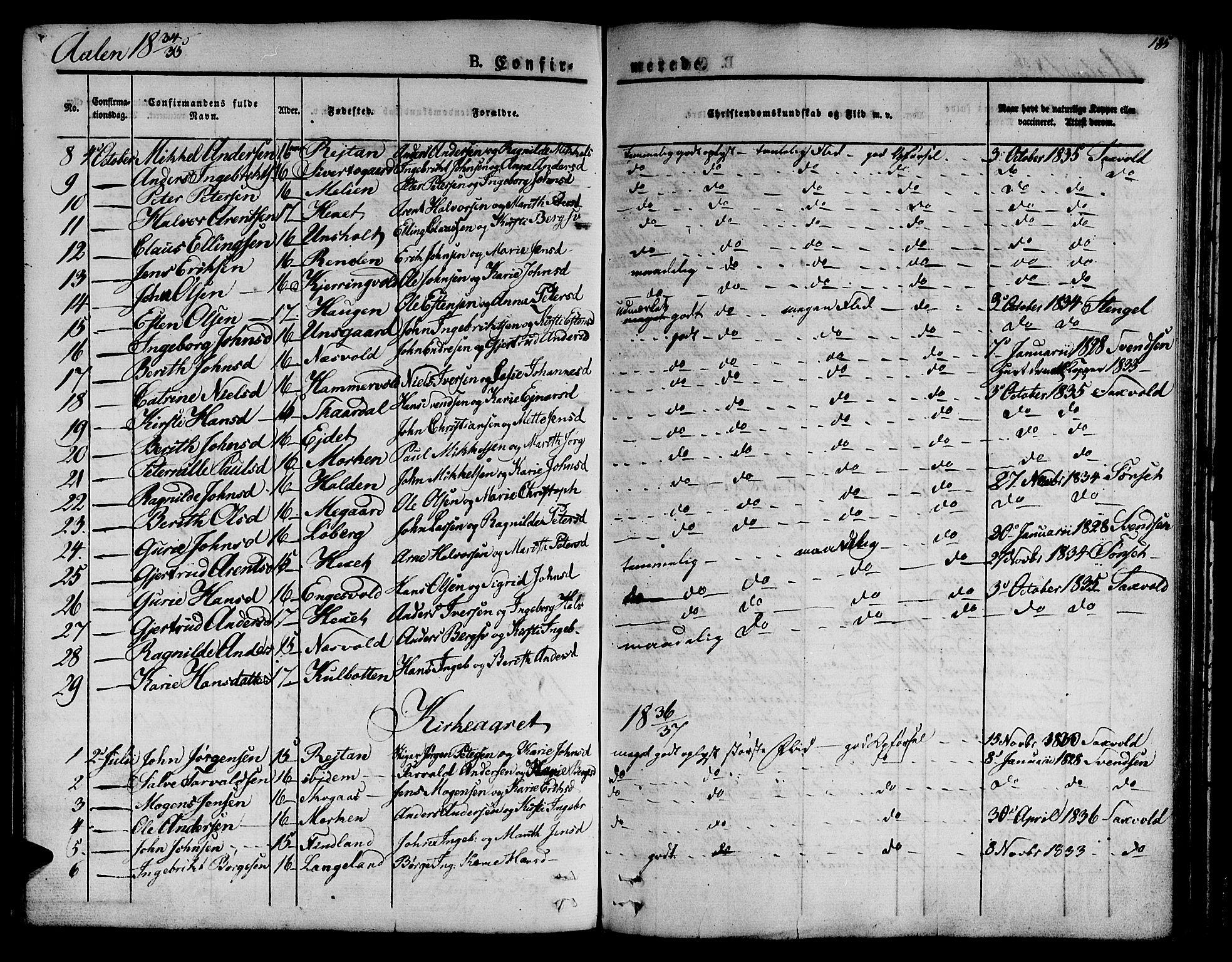 SAT, Ministerialprotokoller, klokkerbøker og fødselsregistre - Sør-Trøndelag, 685/L0959: Ministerialbok nr. 685A04 /3, 1829-1845, s. 185