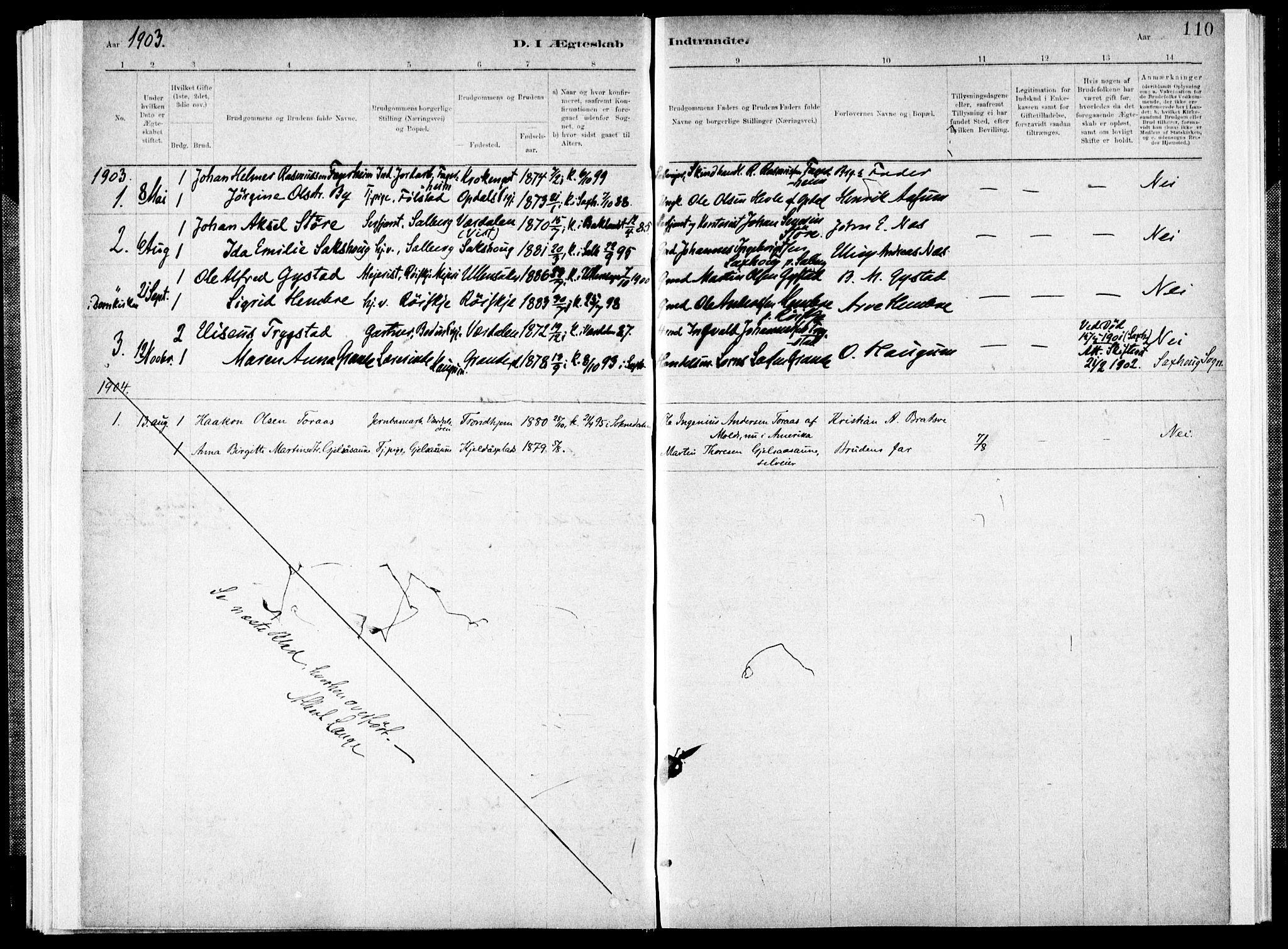 SAT, Ministerialprotokoller, klokkerbøker og fødselsregistre - Nord-Trøndelag, 731/L0309: Ministerialbok nr. 731A01, 1879-1918, s. 110