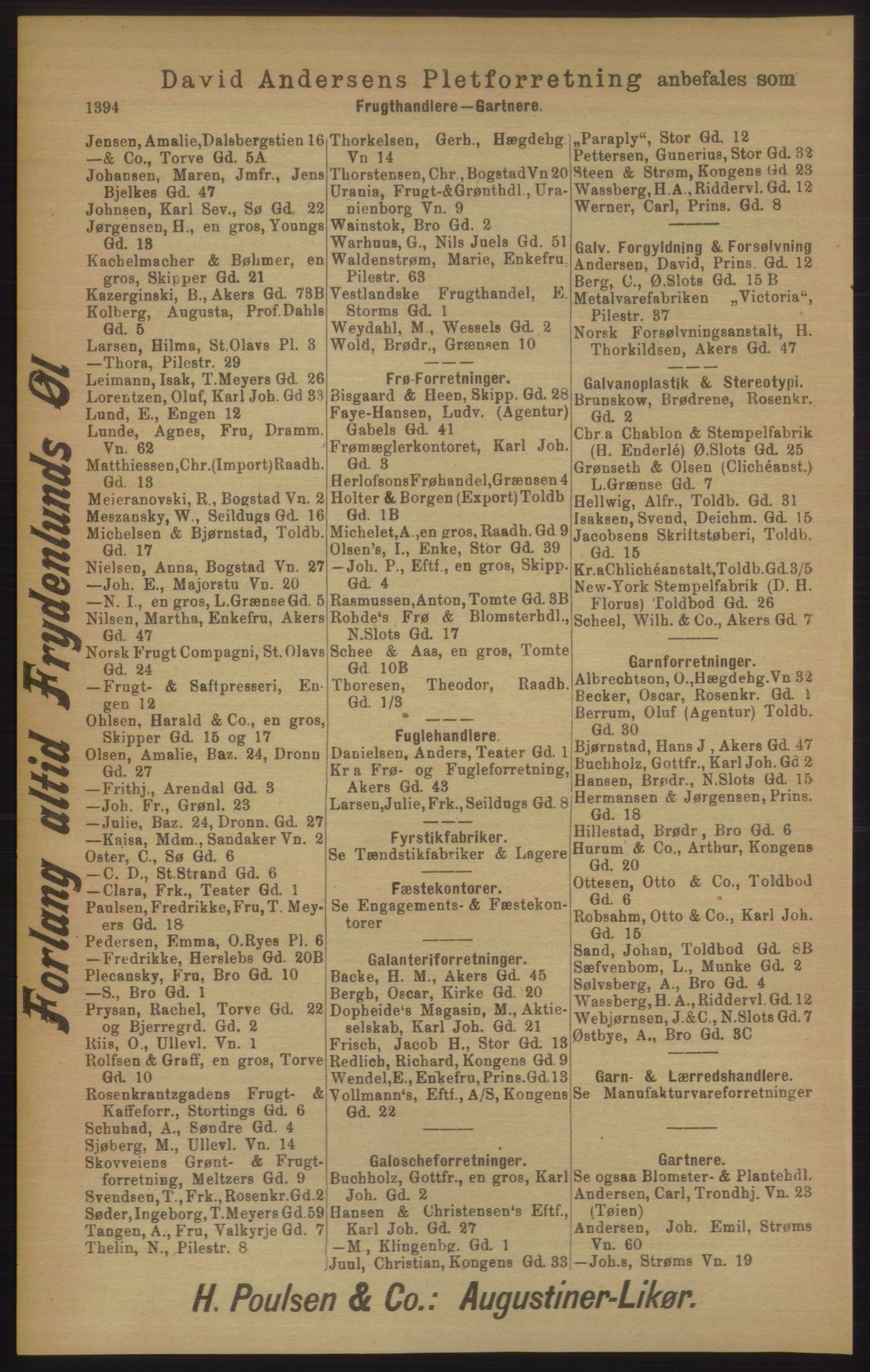 RA, Kristiania adressebok (publikasjon)*, 1906, s. 1394