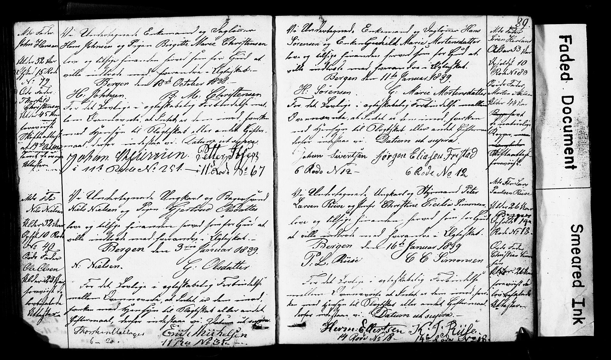 SAB, Domkirken Sokneprestembete, Forlovererklæringer nr. II.5.3, 1832-1845, s. 89