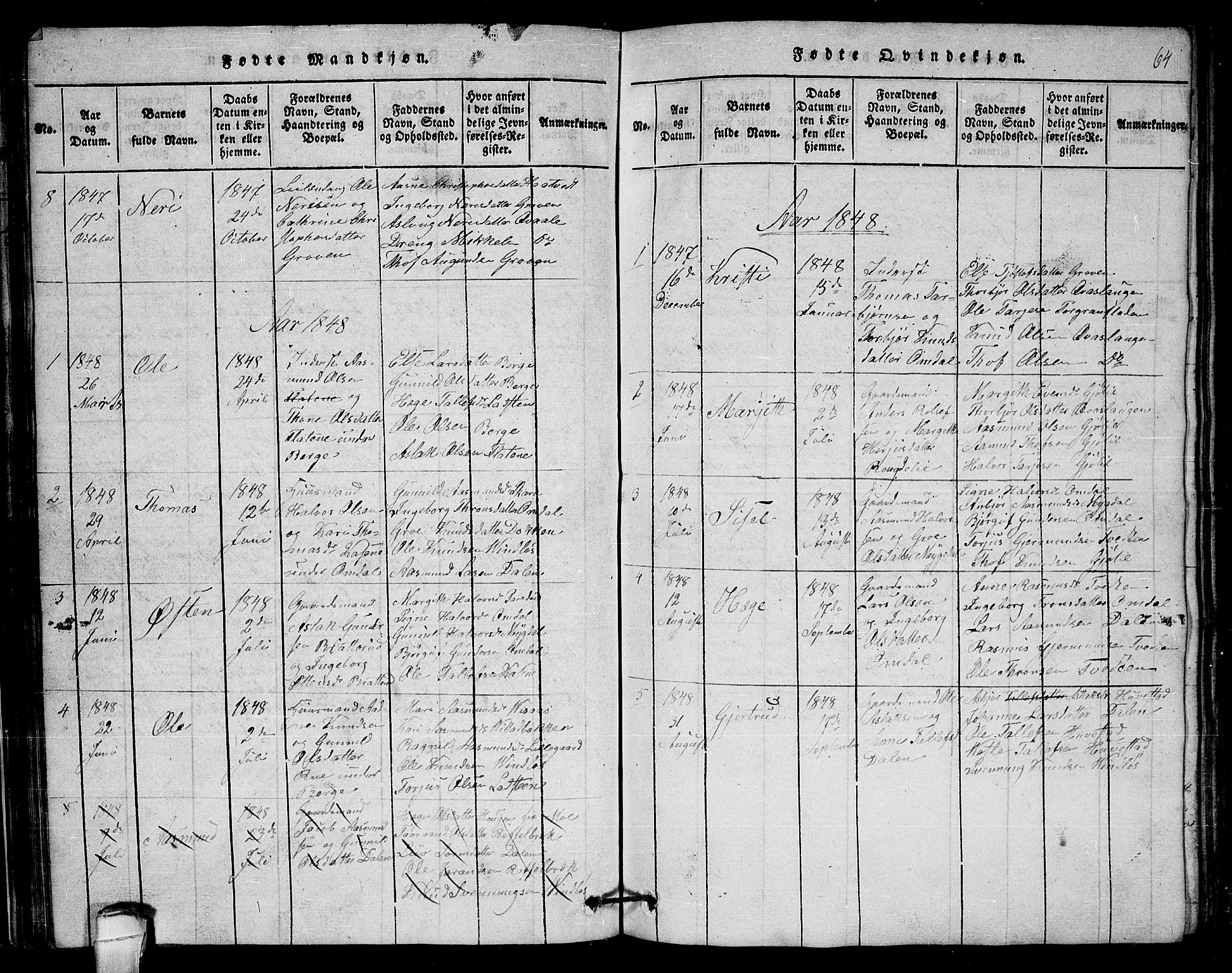 SAKO, Lårdal kirkebøker, G/Gb/L0001: Klokkerbok nr. II 1, 1815-1865, s. 64