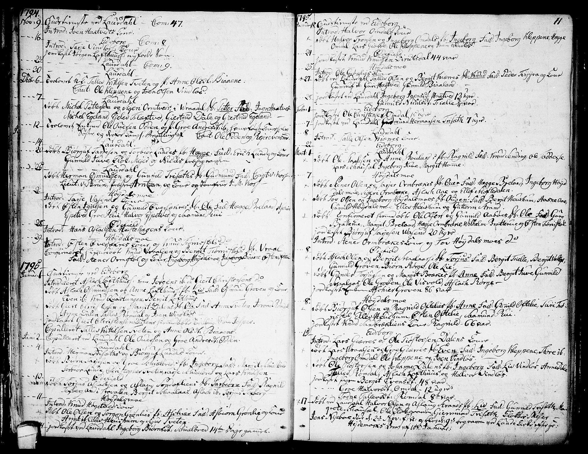 SAKO, Lårdal kirkebøker, F/Fa/L0004: Ministerialbok nr. I 4, 1790-1814, s. 11