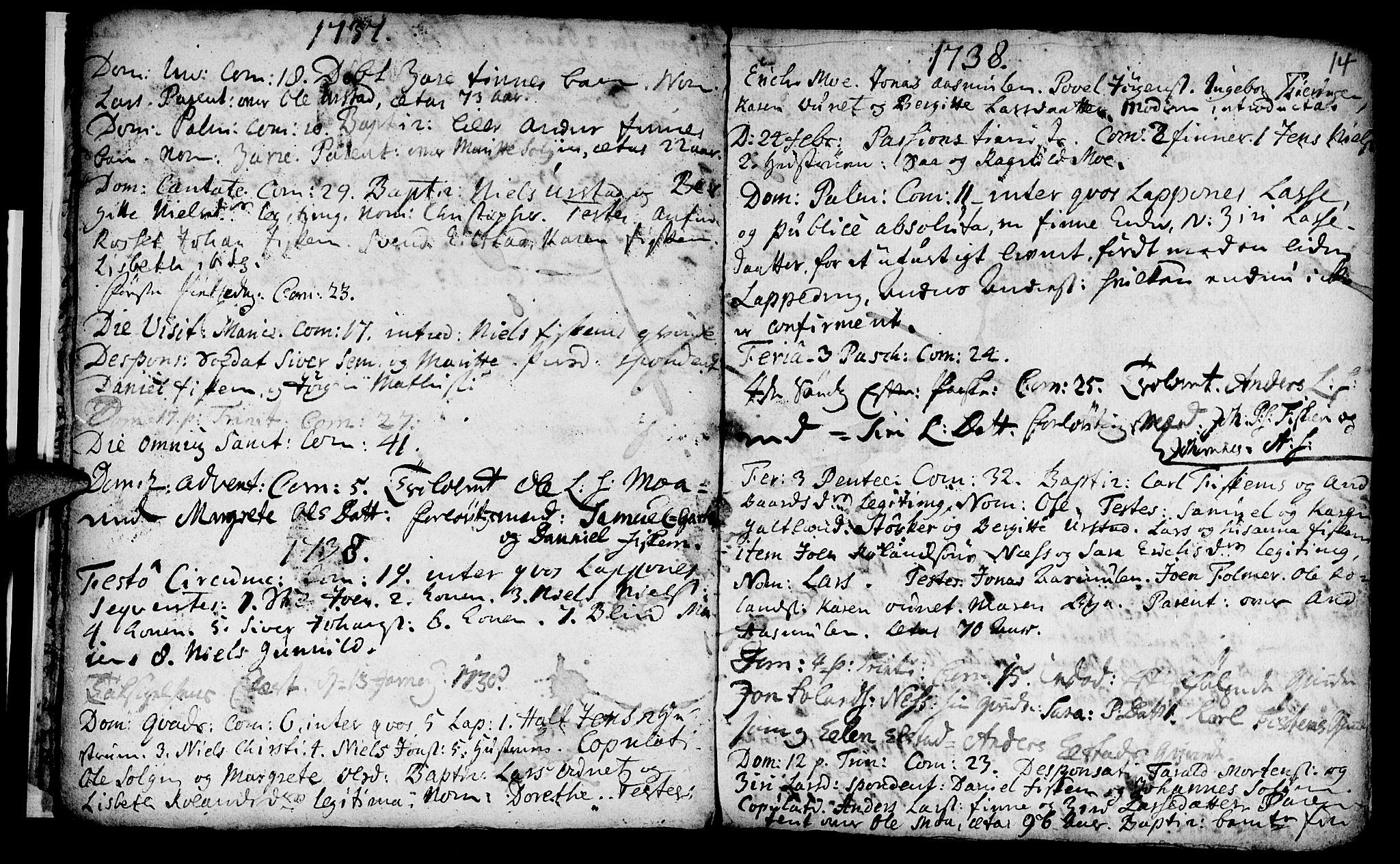 SAT, Ministerialprotokoller, klokkerbøker og fødselsregistre - Nord-Trøndelag, 759/L0525: Ministerialbok nr. 759A01, 1706-1748, s. 14