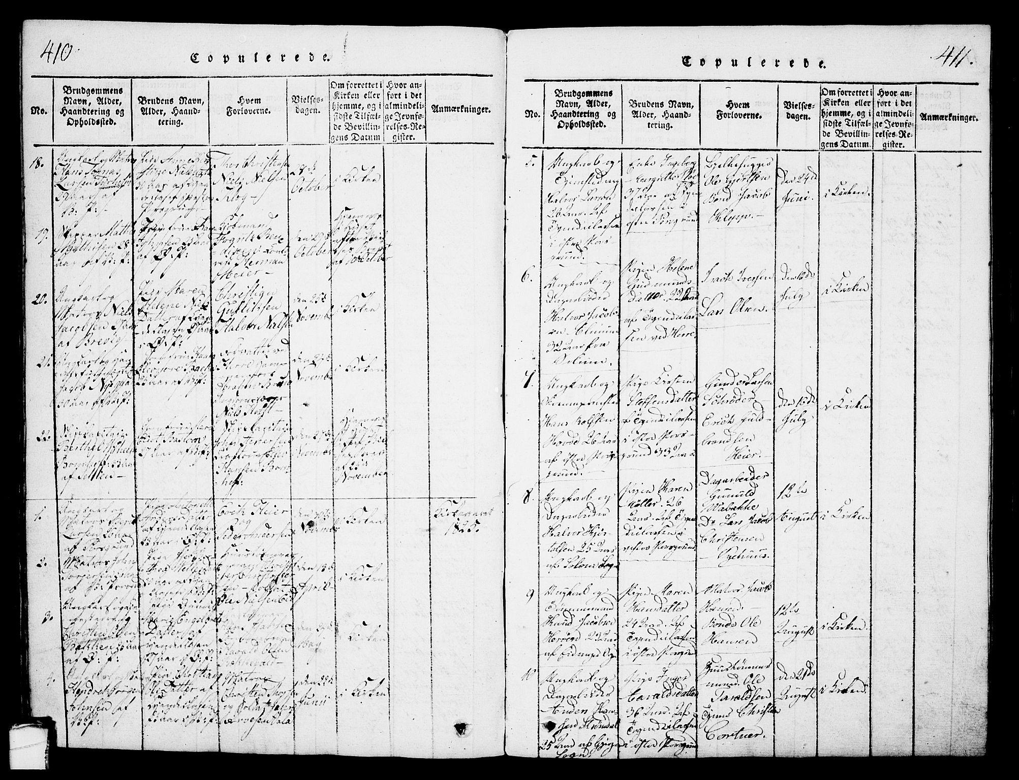 SAKO, Porsgrunn kirkebøker , G/Gb/L0001: Klokkerbok nr. II 1, 1817-1828, s. 410-411