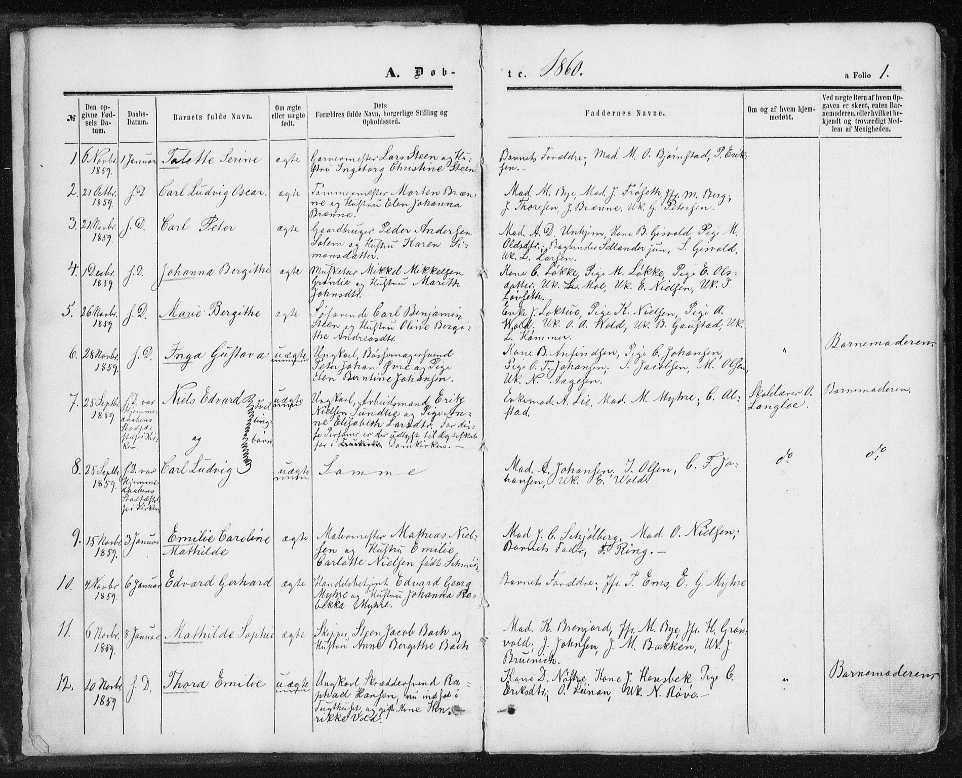 SAT, Ministerialprotokoller, klokkerbøker og fødselsregistre - Sør-Trøndelag, 602/L0115: Ministerialbok nr. 602A13, 1860-1872, s. 1