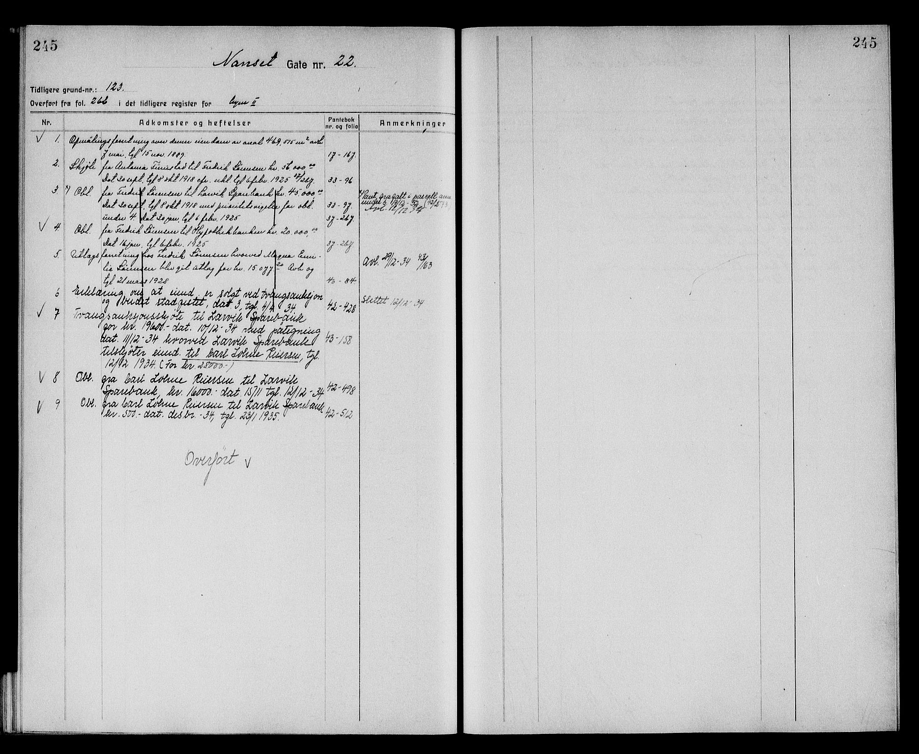 SAKO, Larvik byfogd, G/Gb/Gba/Gbac/L0003: Panteregister nr. III 3, 1870, s. 245